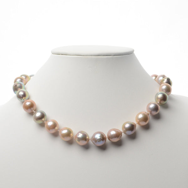 Monili Collection Lady Slipper Orchid Clasp with Natural Conch Pearl Akoya Pearl Necklace