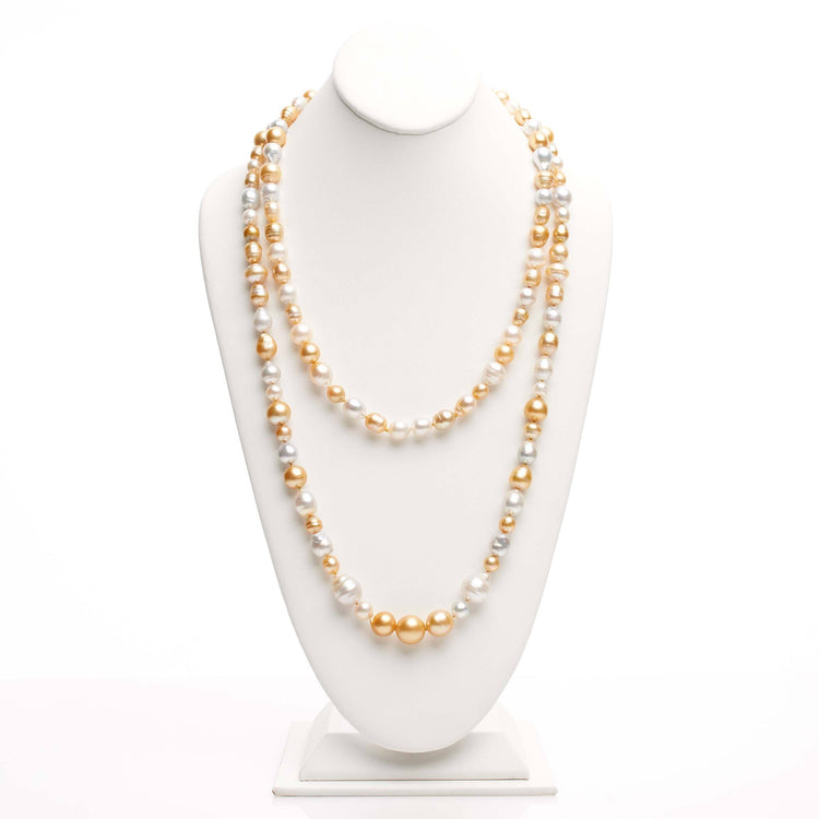 53 inch 7.0-13.0 mm Multicolor Golden South Sea Pearl Harvest Strand
