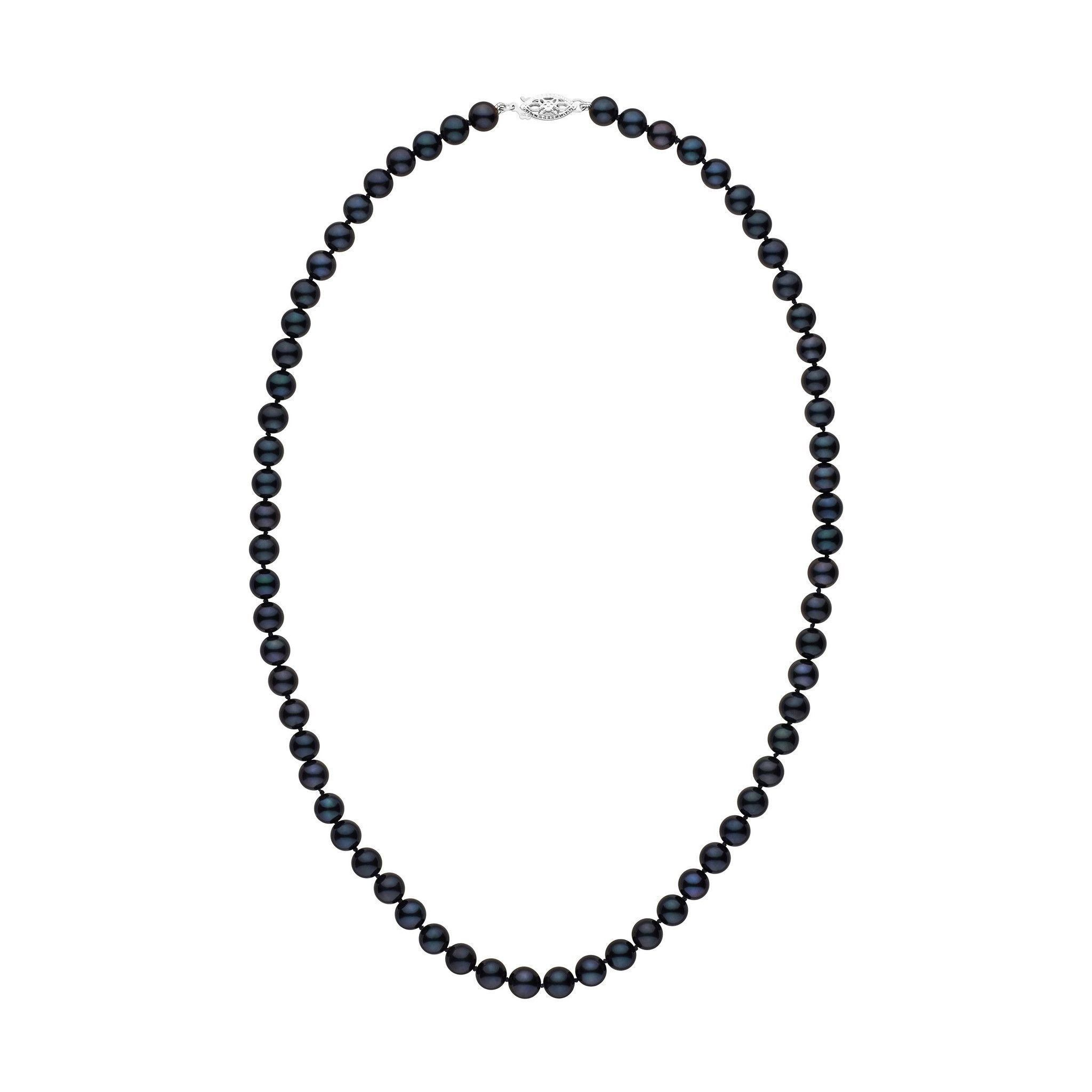 6.0-6.5 mm 18 Inch AA+ Black Akoya Pearl Necklace