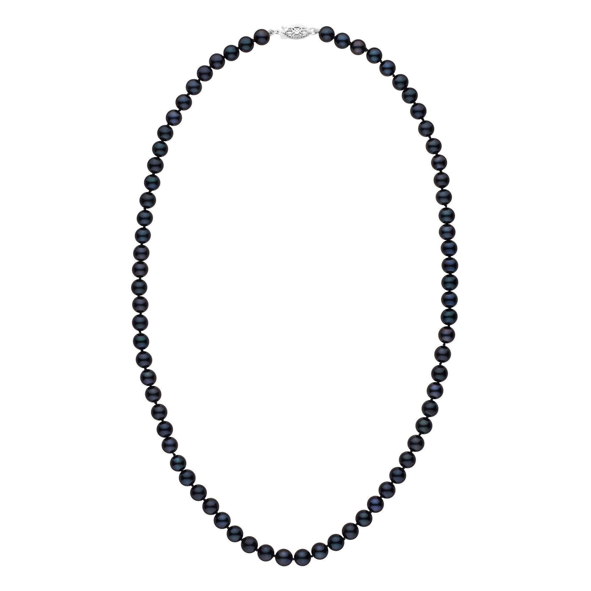 6.0-6.5 mm 22 inch AA+ Black Akoya Pearl Necklace