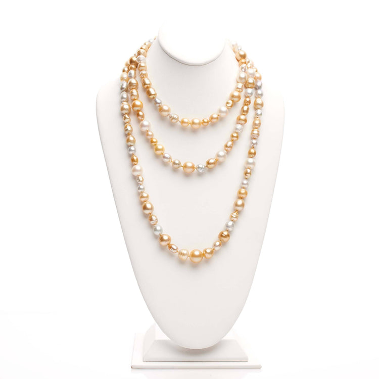 64 inch 7.0-14.0 mm Multicolor Golden South Sea Pearl Harvest Strand
