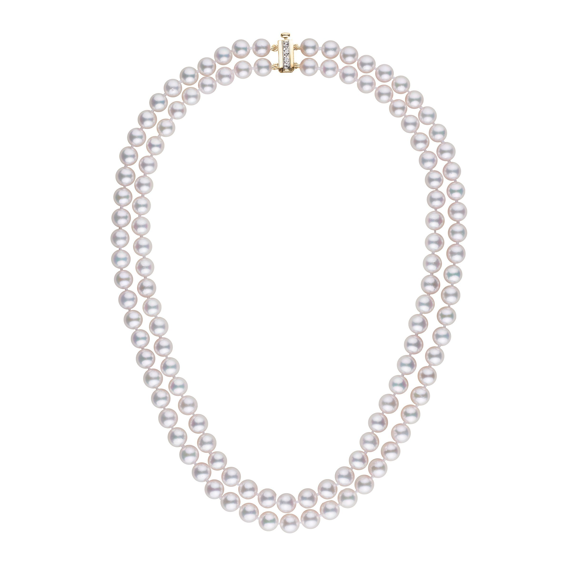 6.5-7.0 mm AAA White Akoya Double Strand Diamond Bar Clasp Necklace