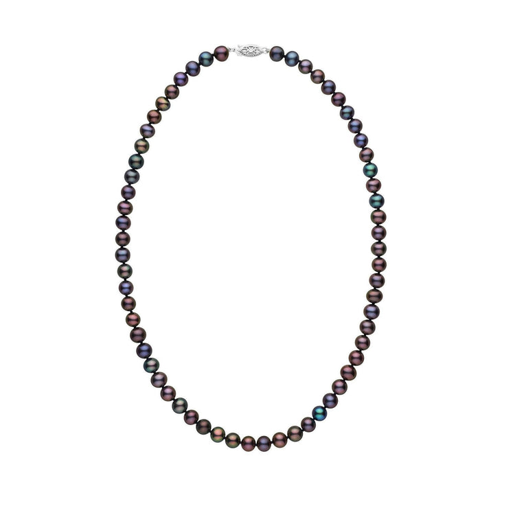 6.5-7.0 mm 16 Inch AA+ Black Freshwater Pearl Necklace