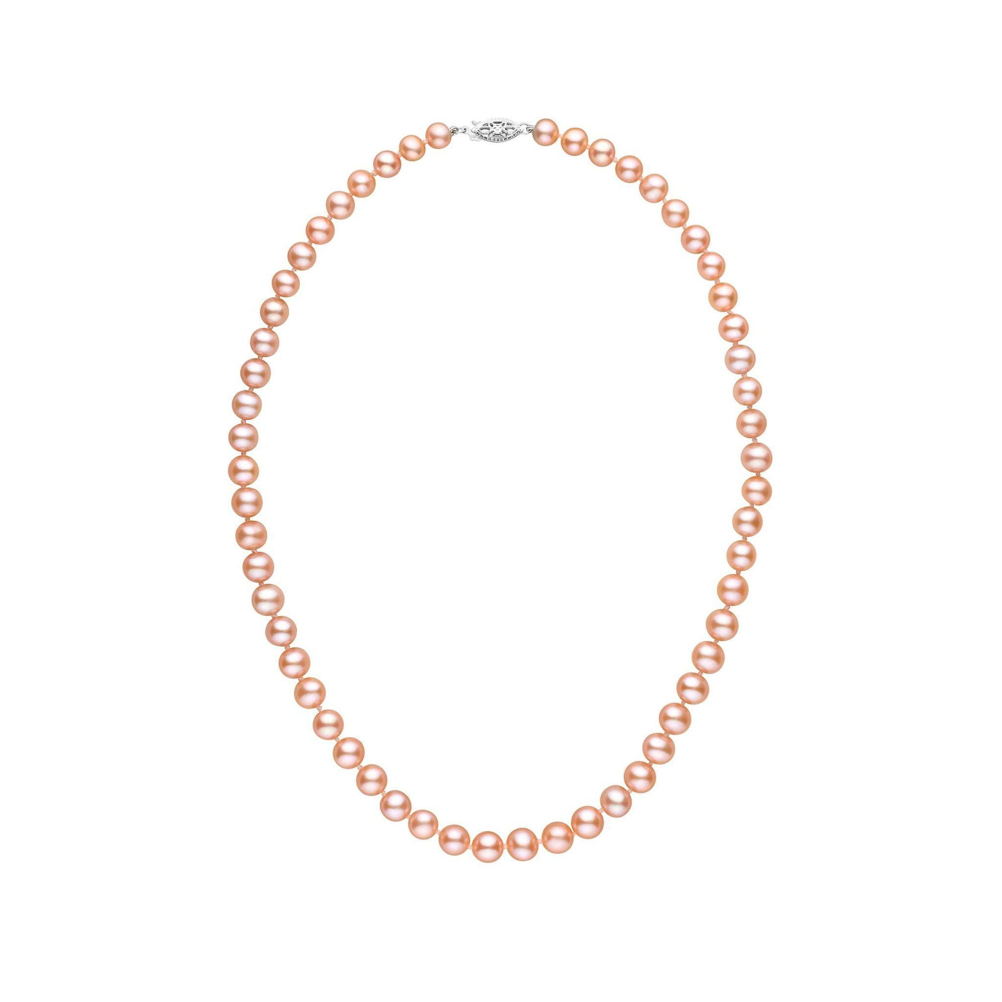 6.5-7.0 mm 16 Inch AAA Pink to Peach Freshwater Pearl Necklace