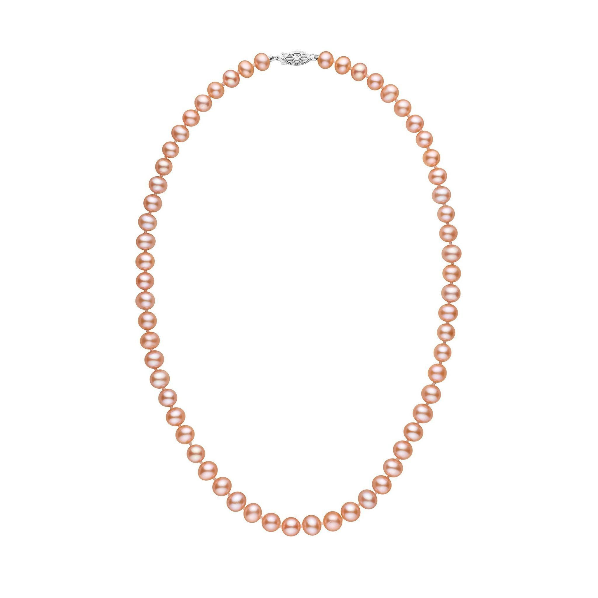 6.5-7.0 mm 18 Inch AA+ Pink to Peach Freshwater Pearl Necklace