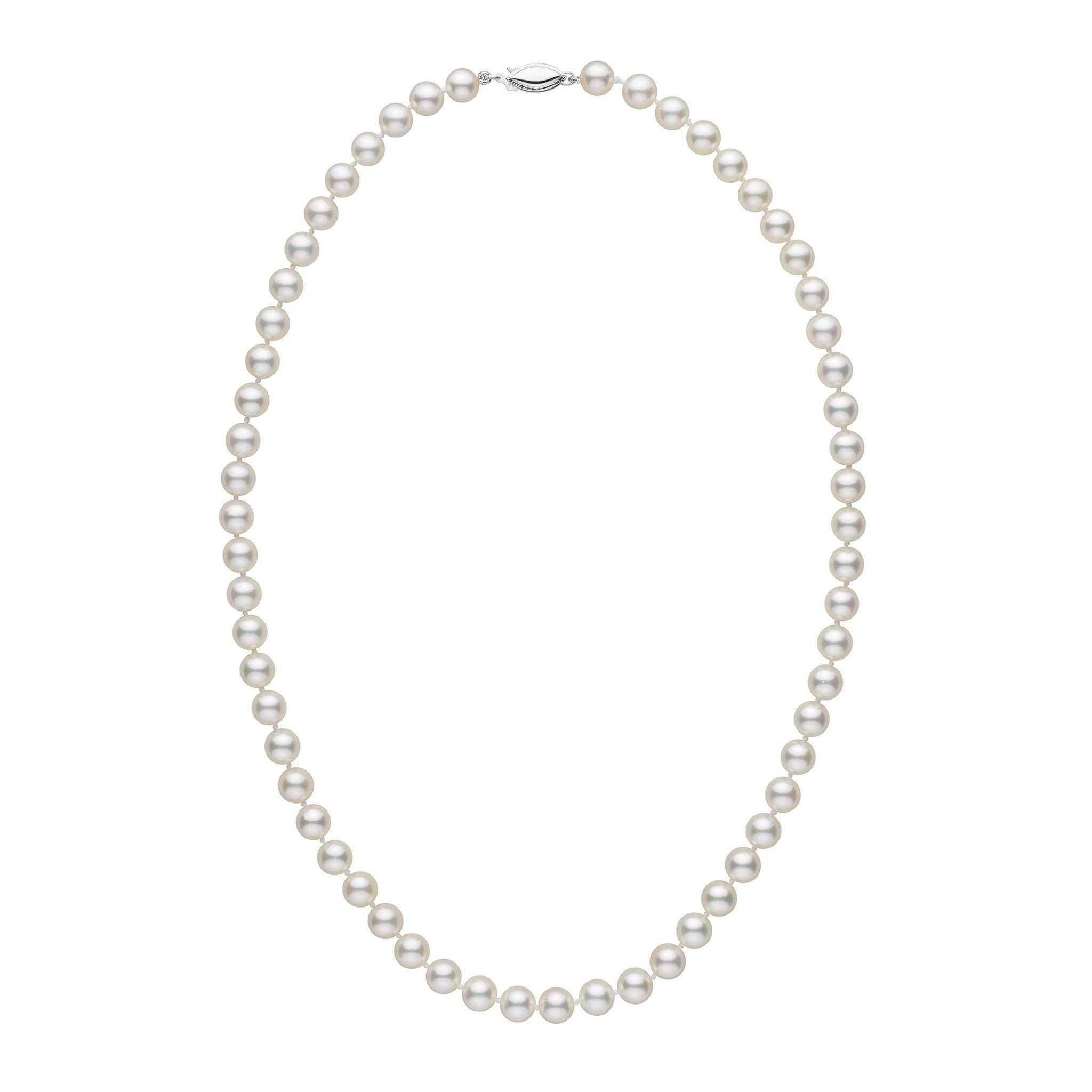 6.5-7.0 mm 18 Inch AA+ White Akoya Pearl Necklace