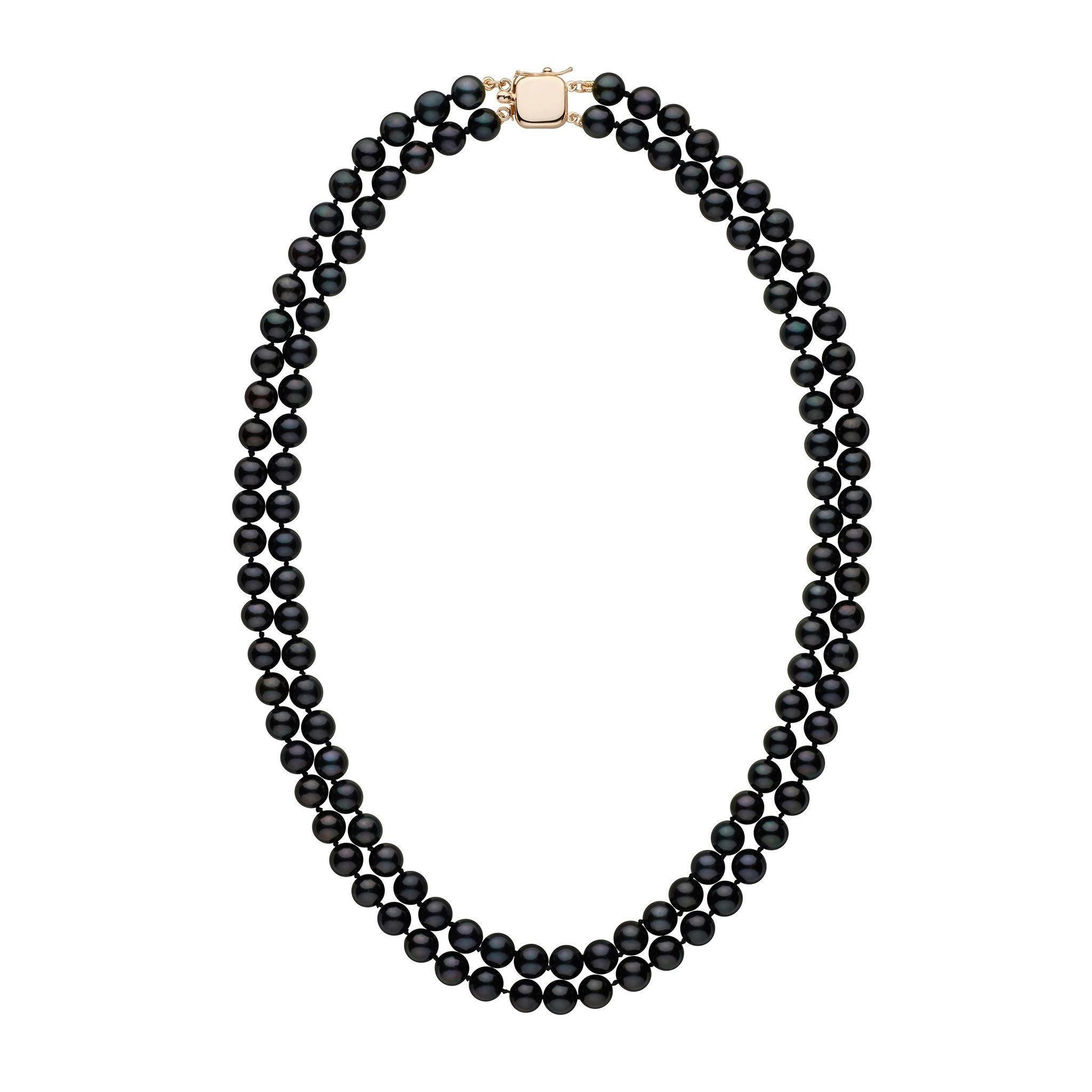 6.5-7.0 mm 18-inch Double-Strand Black Akoya Pearl Necklace
