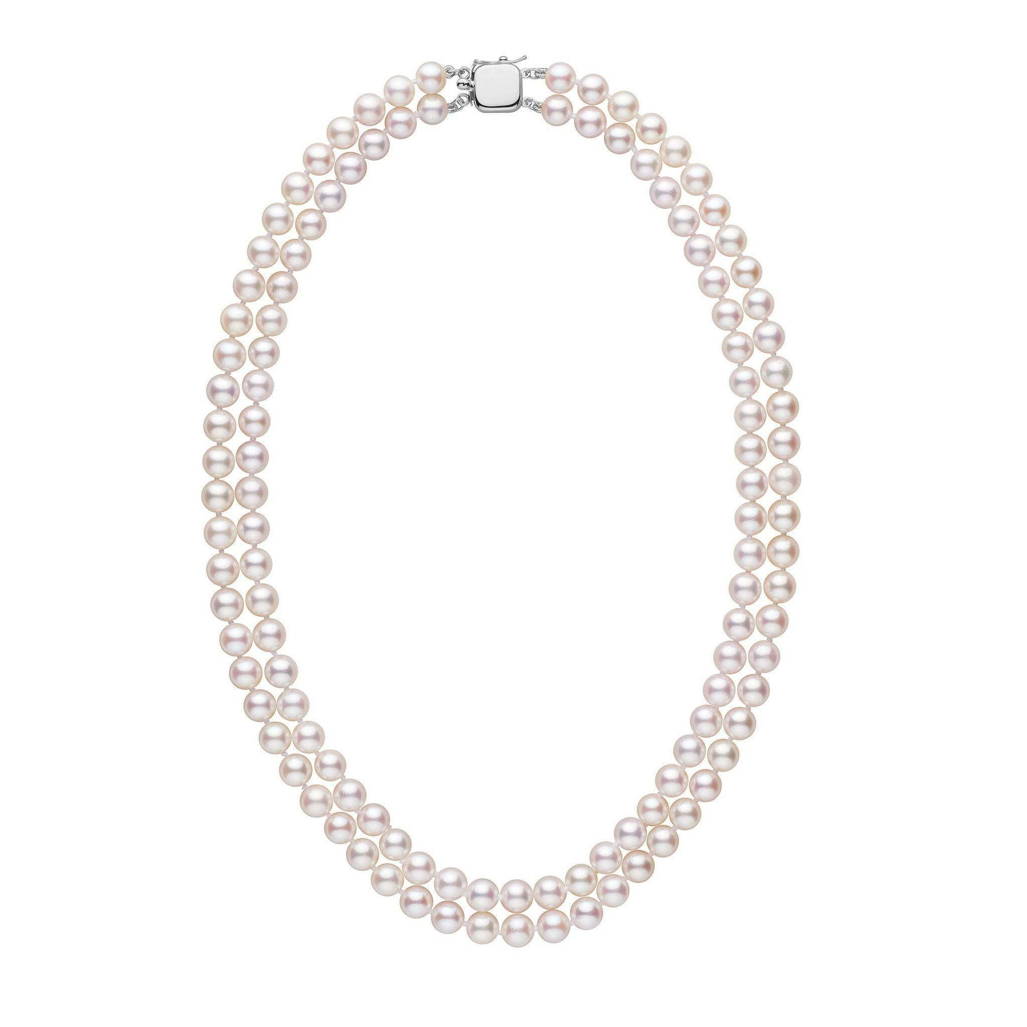 6.5-7.0 mm 18-inch Double-Strand White Akoya AA+ Pearl Necklace