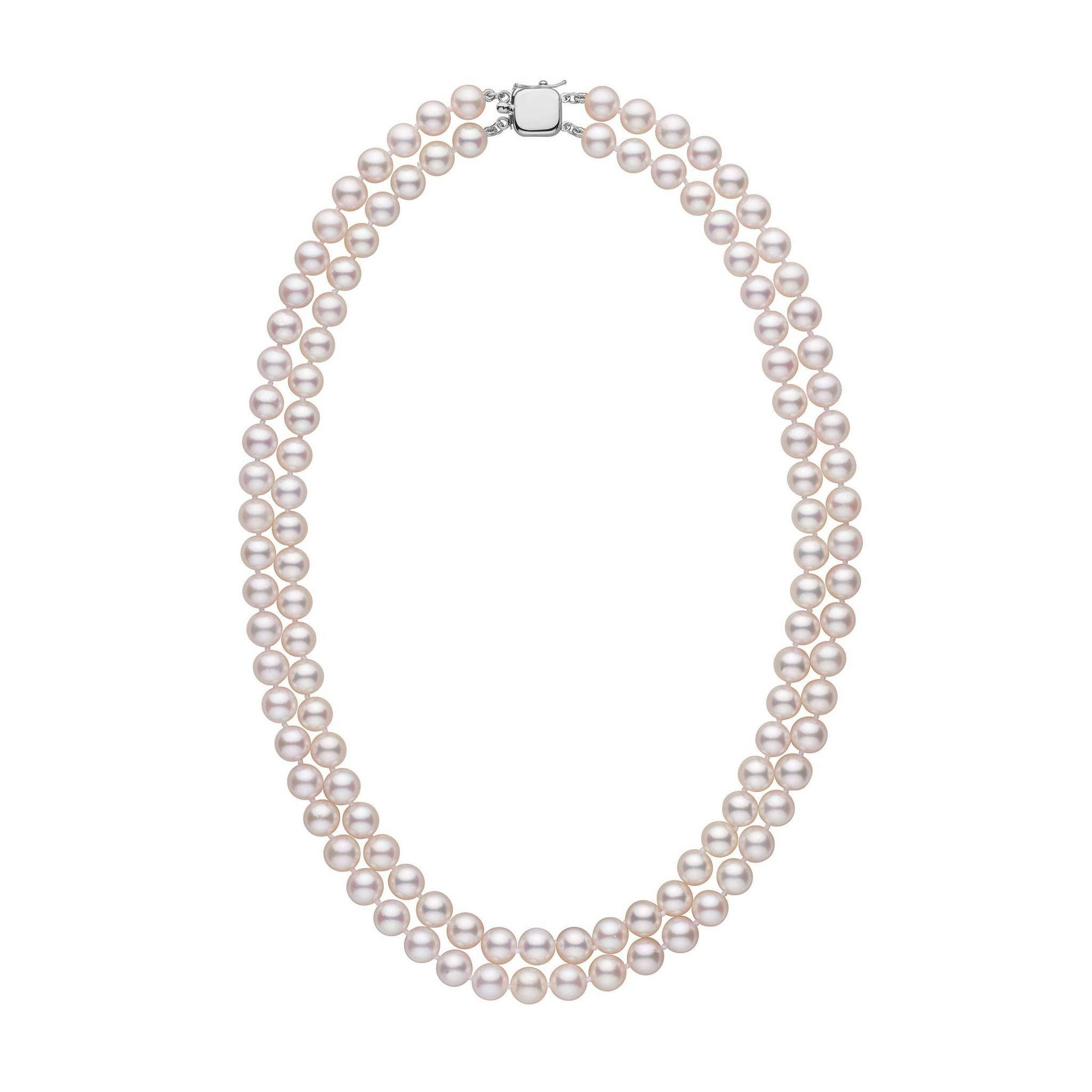 6.5-7.0 mm 18-inch Double-Strand White Akoya AAA Pearl Necklace
