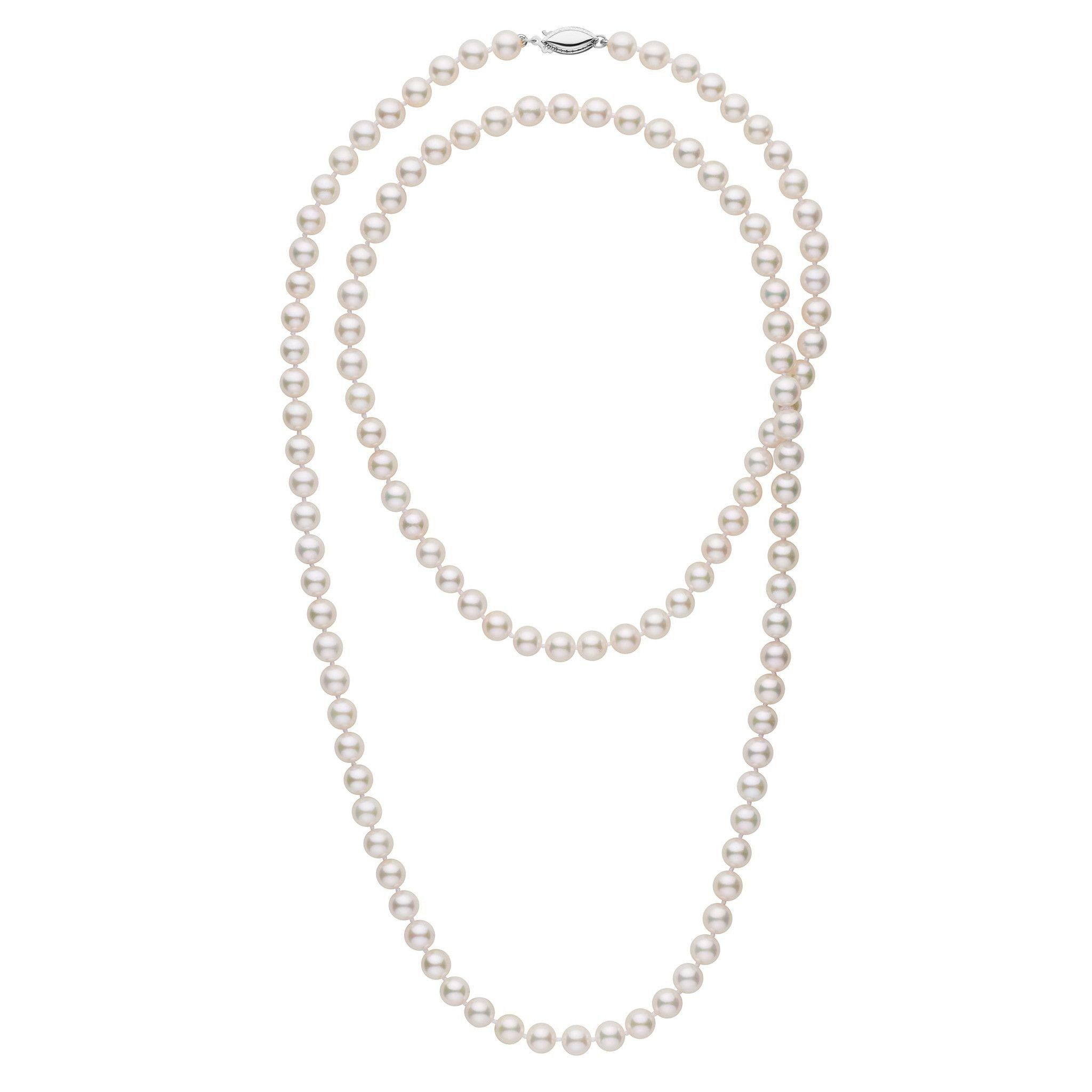 6.5-7.0 mm 36 Inch AA+ White Akoya Pearl Necklace
