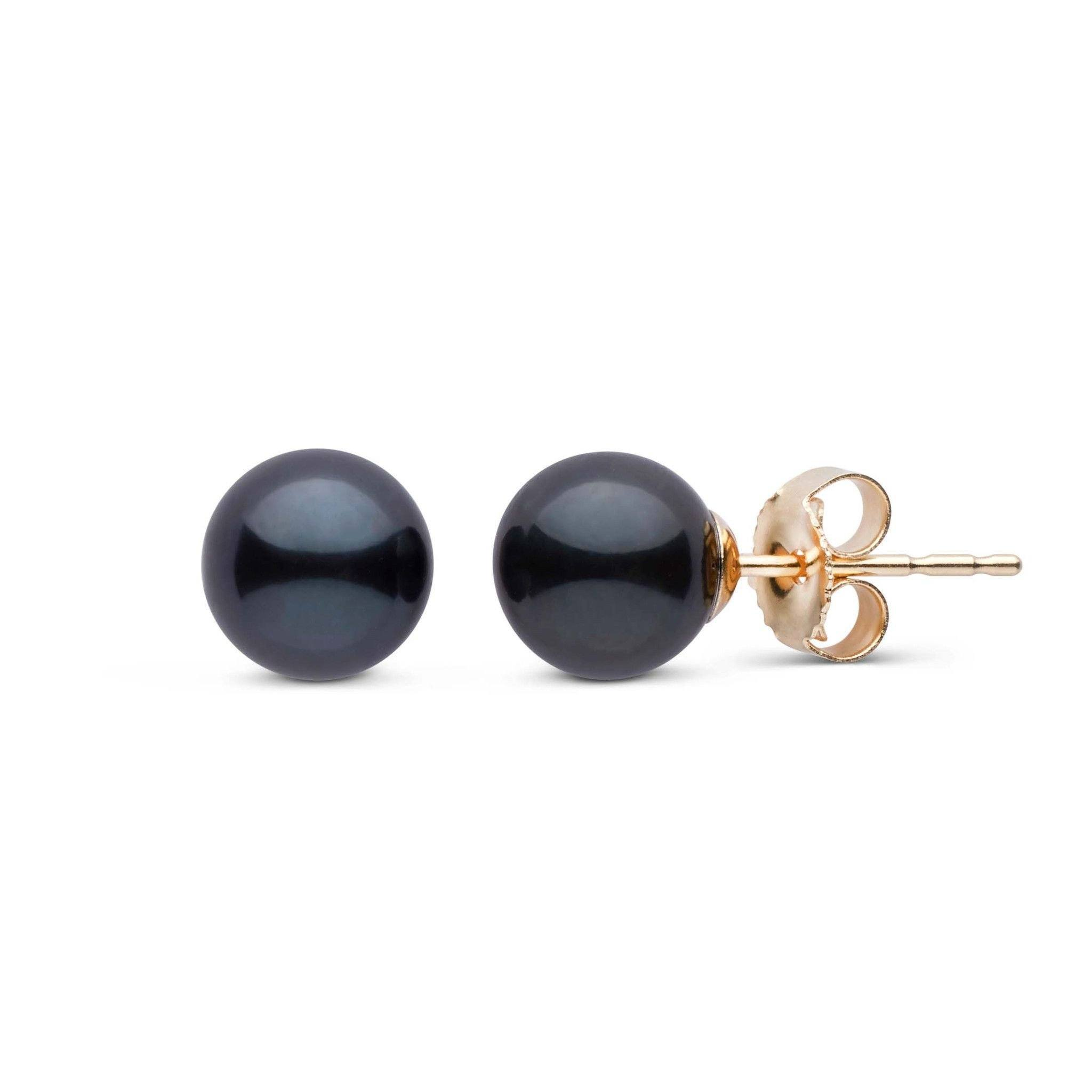 6.5-7.0 mm AA+ Black Akoya Pearl Stud Earrings