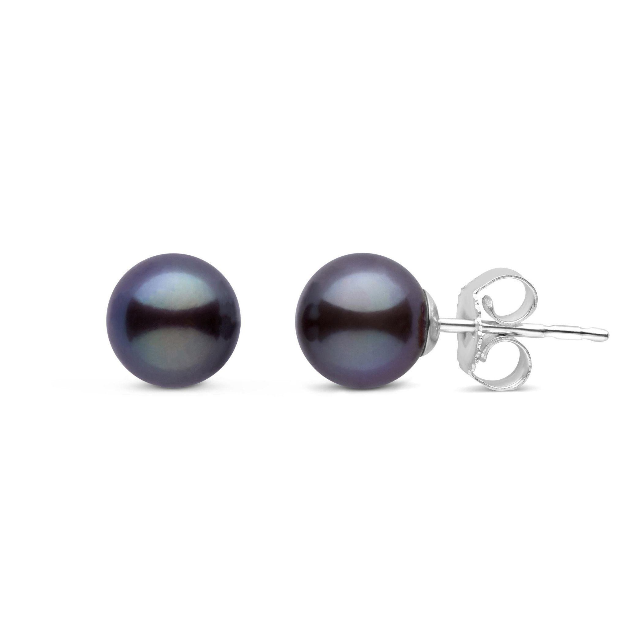 6.5-7.0 mm AAA Black Freshwater Round Pearl Stud Earrings