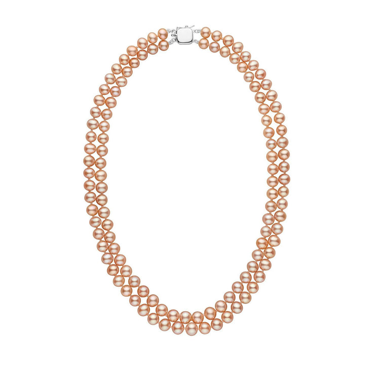 6.5-7.0 mm Double Strand AAA Pink to Peach Freshwater Pearl Necklace