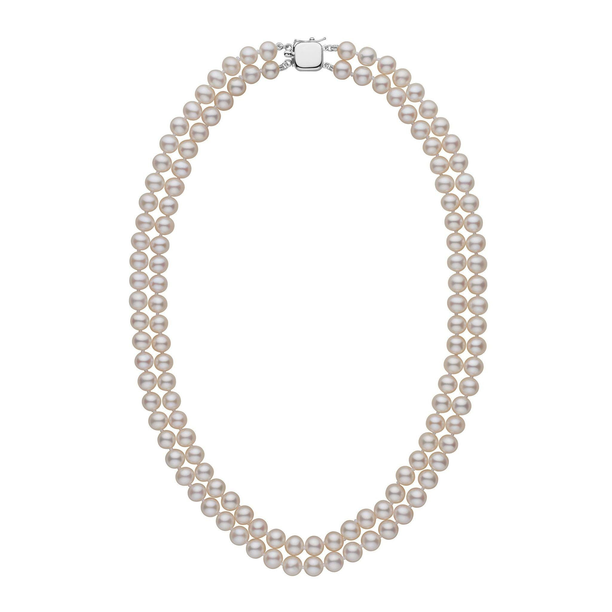 6.5-7.0 mm Double Strand AAA White Freshwater Pearl Necklace
