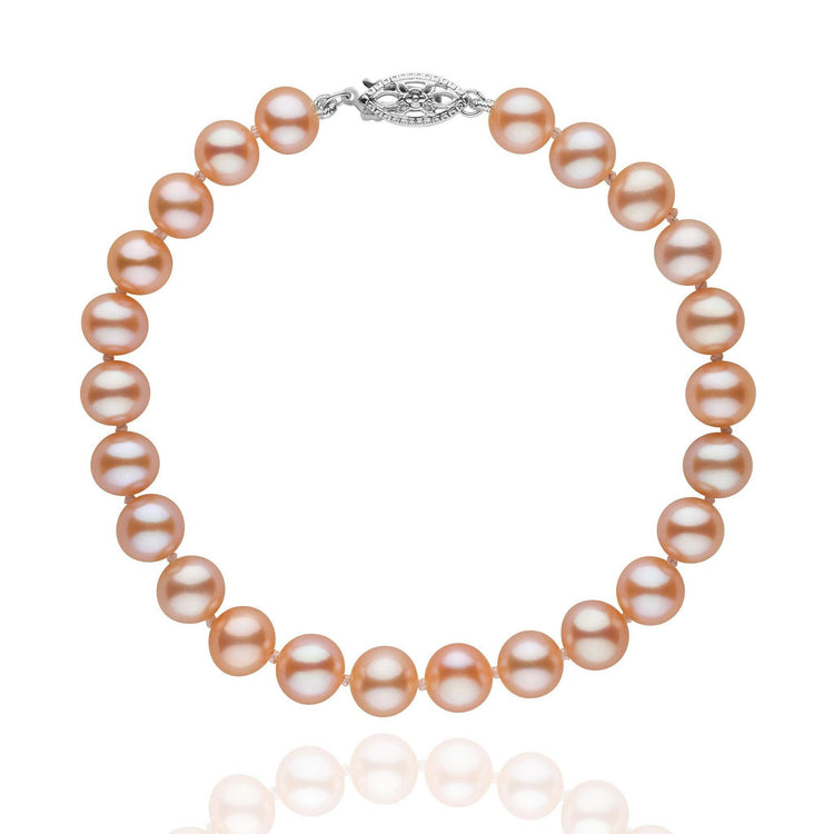 6.5-7.0 mm Pink to Peach Freshwater AA+ Pearl Bracelet