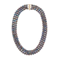6.5-7.0 mm Triple-Strand AA+ Black Freshwater Pearl Necklace