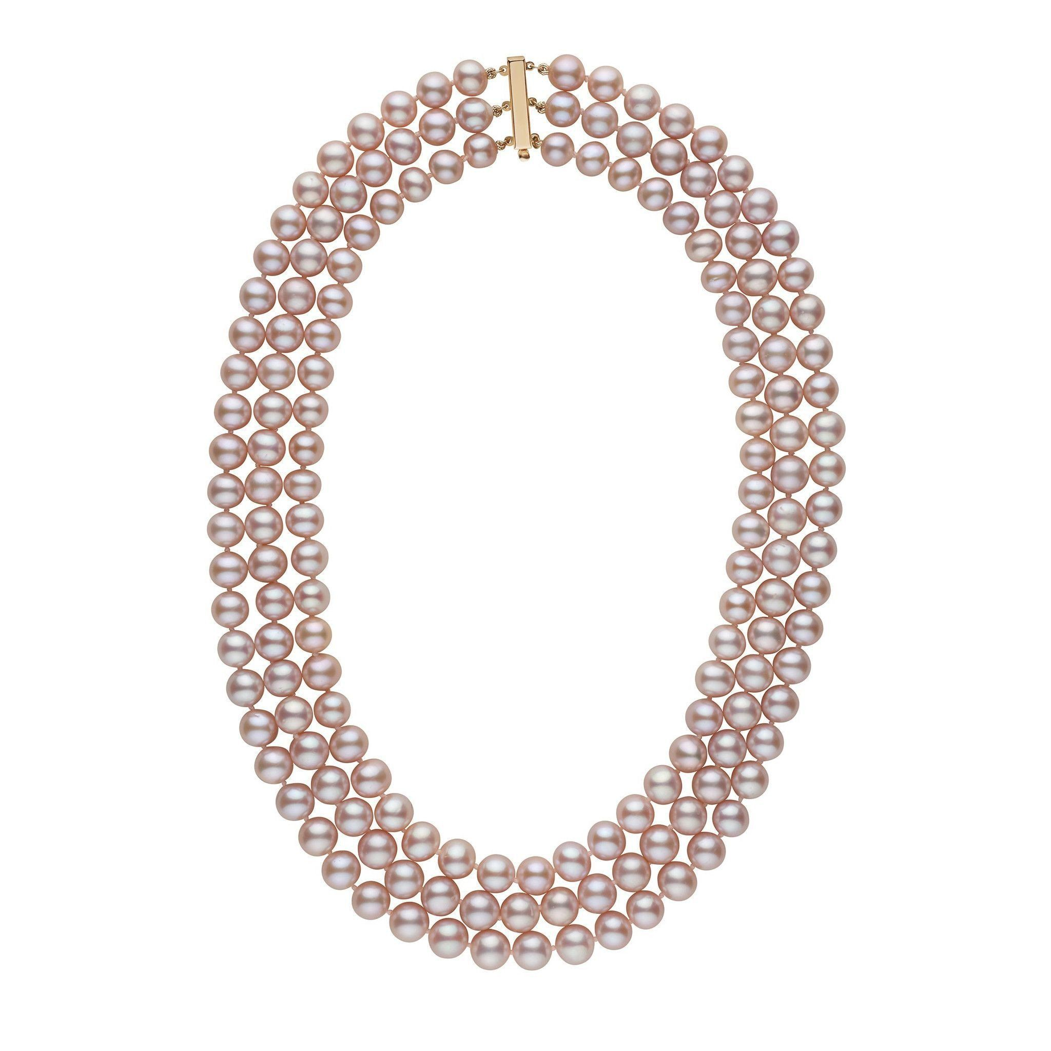 6.5-7.0 mm Triple-Strand AA+ Lavender Freshwater Pearl Necklace