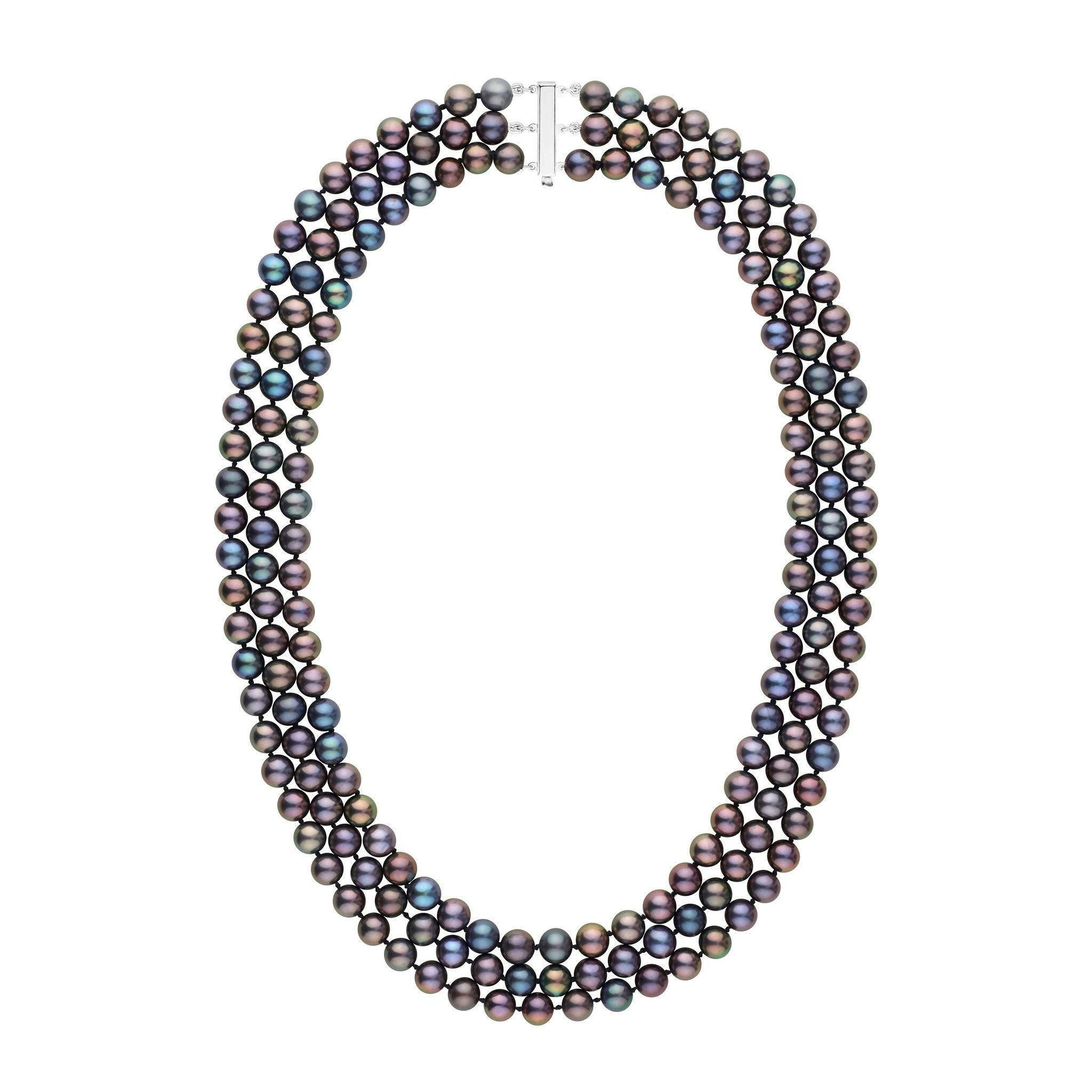6.5-7.0 mm Triple-Strand AAA Black Freshwater Pearl Necklace