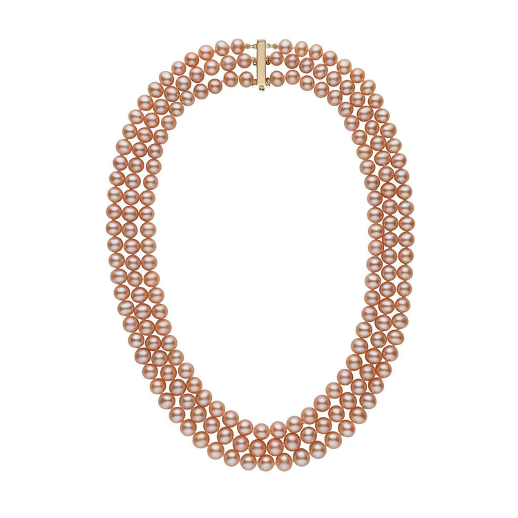 6.5-7.0 mm Triple-Strand AAA Pink to Peach Freshwater Pearl Necklace