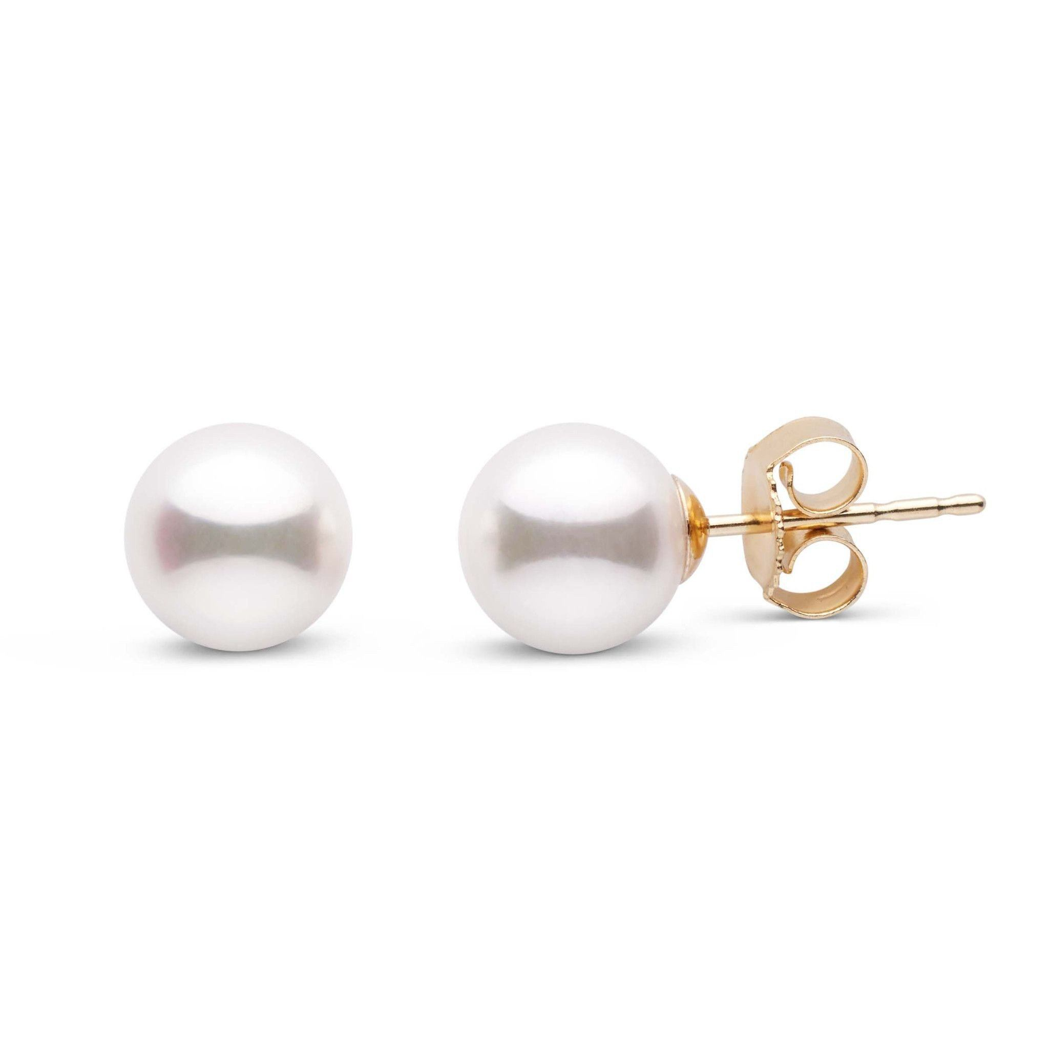 6.5-7.0 mm White Akoya AA+ Pearl Stud Earrings