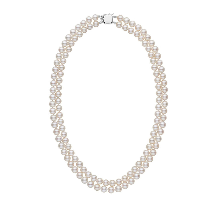 6.5-7.0 mm White Freshadama Freshwater Pearl Double Strand Necklace