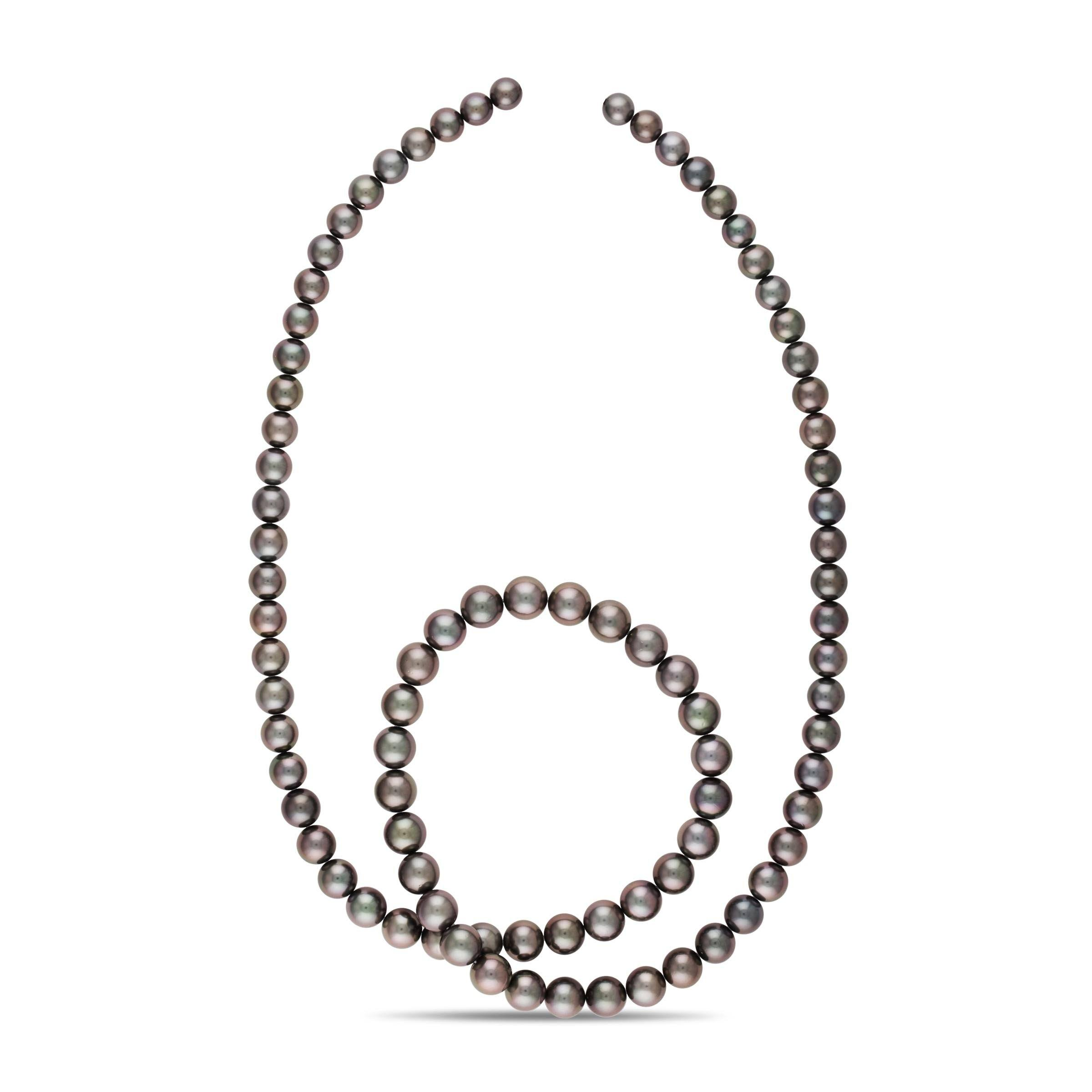 35-inch 8.2-10.9 mm AA+/AAA Round Tahitian Pearl Necklace