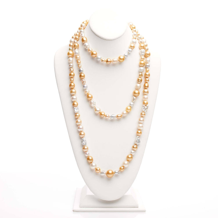 68 inch 7.0-14.0 mm Multicolor Golden South Sea Pearl Harvest Strand