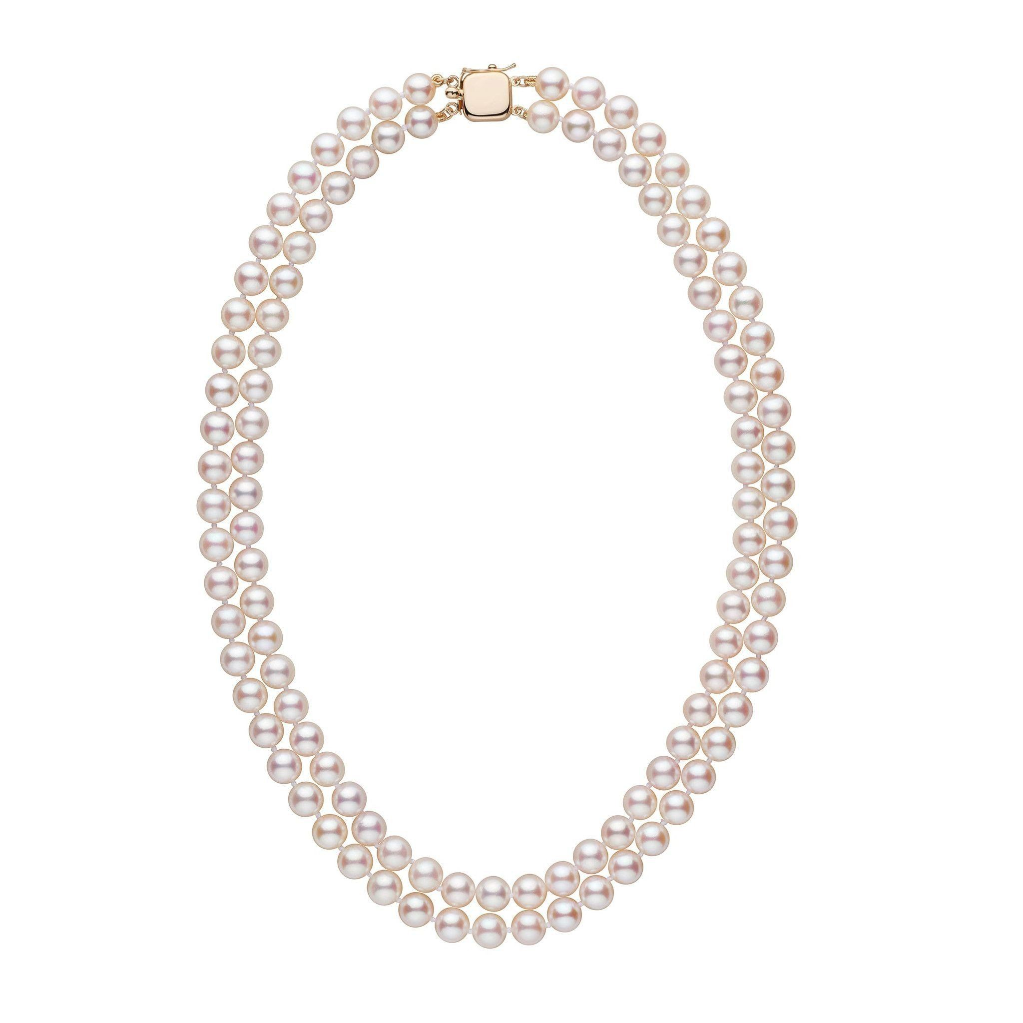 7.0-7.5 mm 18-inch AA+ Double-Strand White Akoya Pearl Necklace