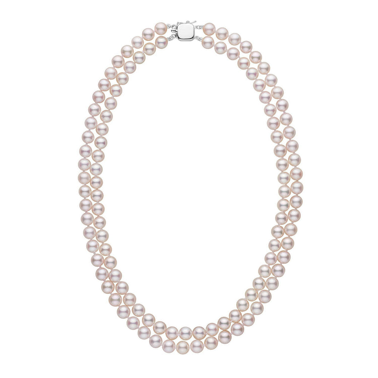7.0-7.5 mm 18-inch AAA Double-Strand White Akoya Pearl Necklace