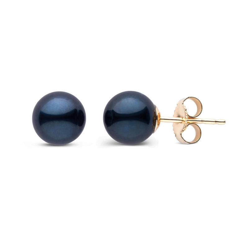 7.0-7.5 mm AA+ Black Akoya Pearl Stud Earrings