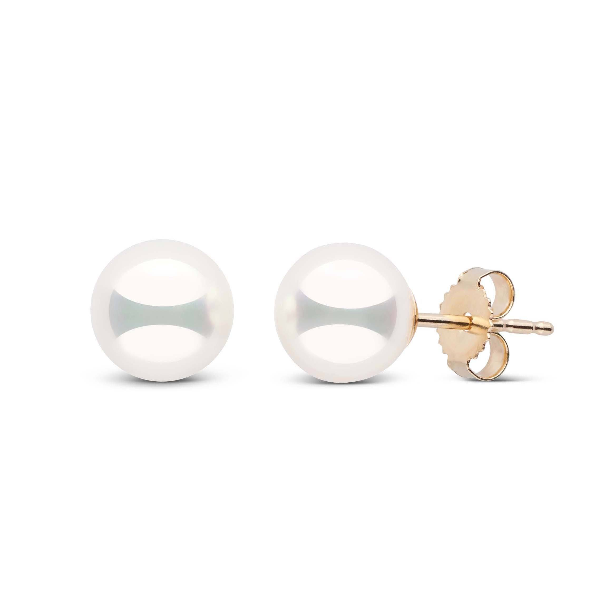 7.0-7.5 mm Natural White Hanadama Pearl Earrings