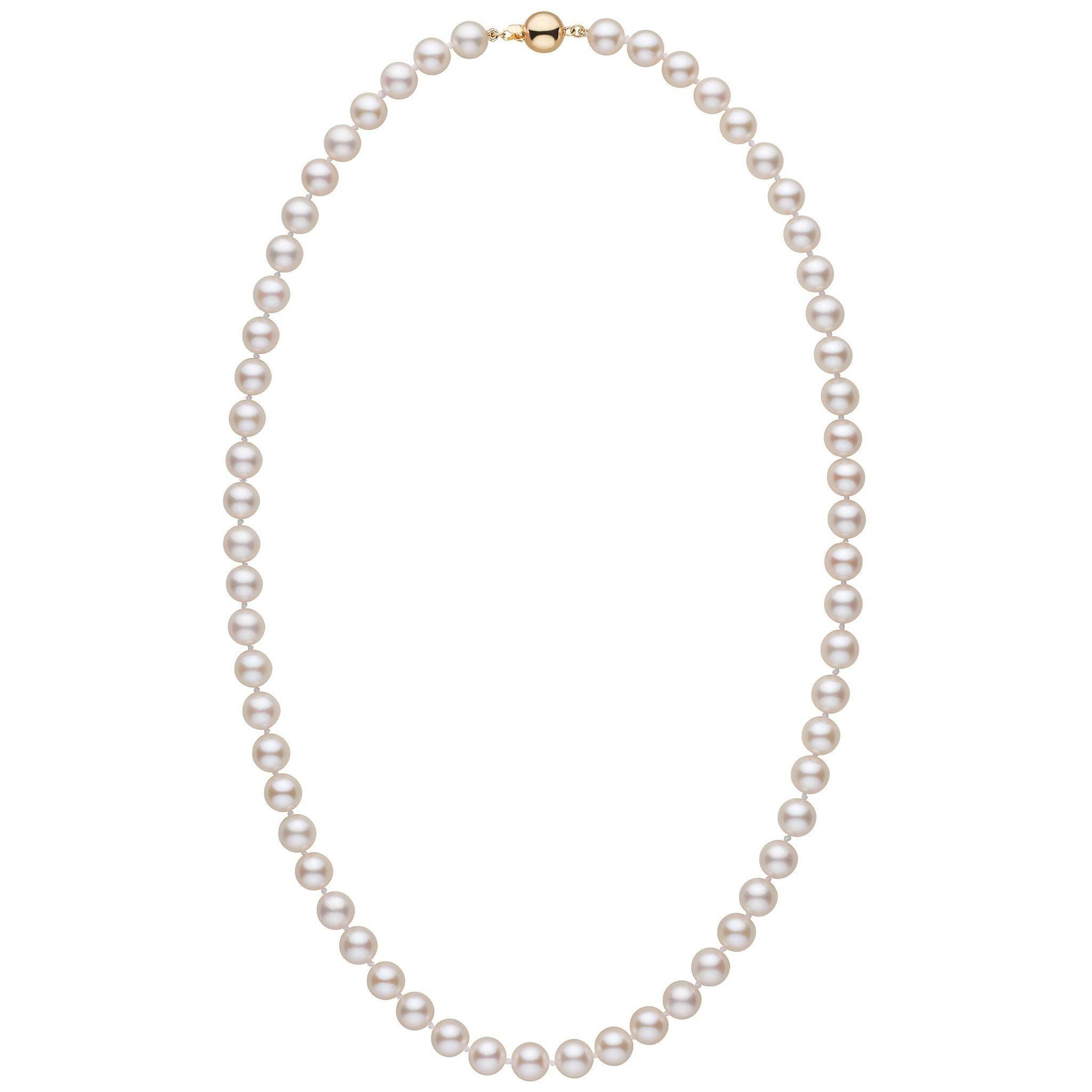 7.0-7.5 mm White Akoya 22 inch AA+ Pearl Necklace