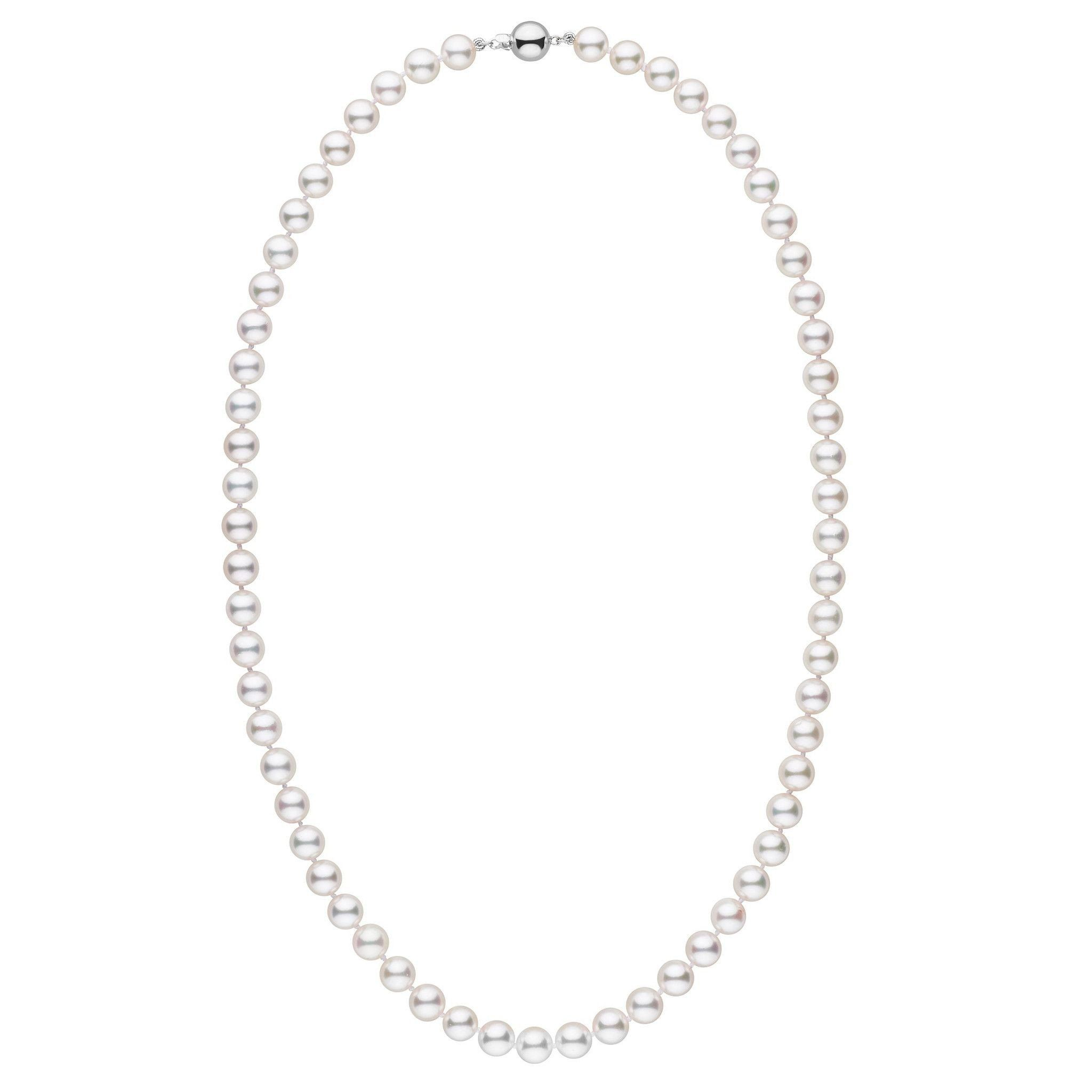7.0-7.5 mm White Akoya 22 inch AAA Pearl Necklace
