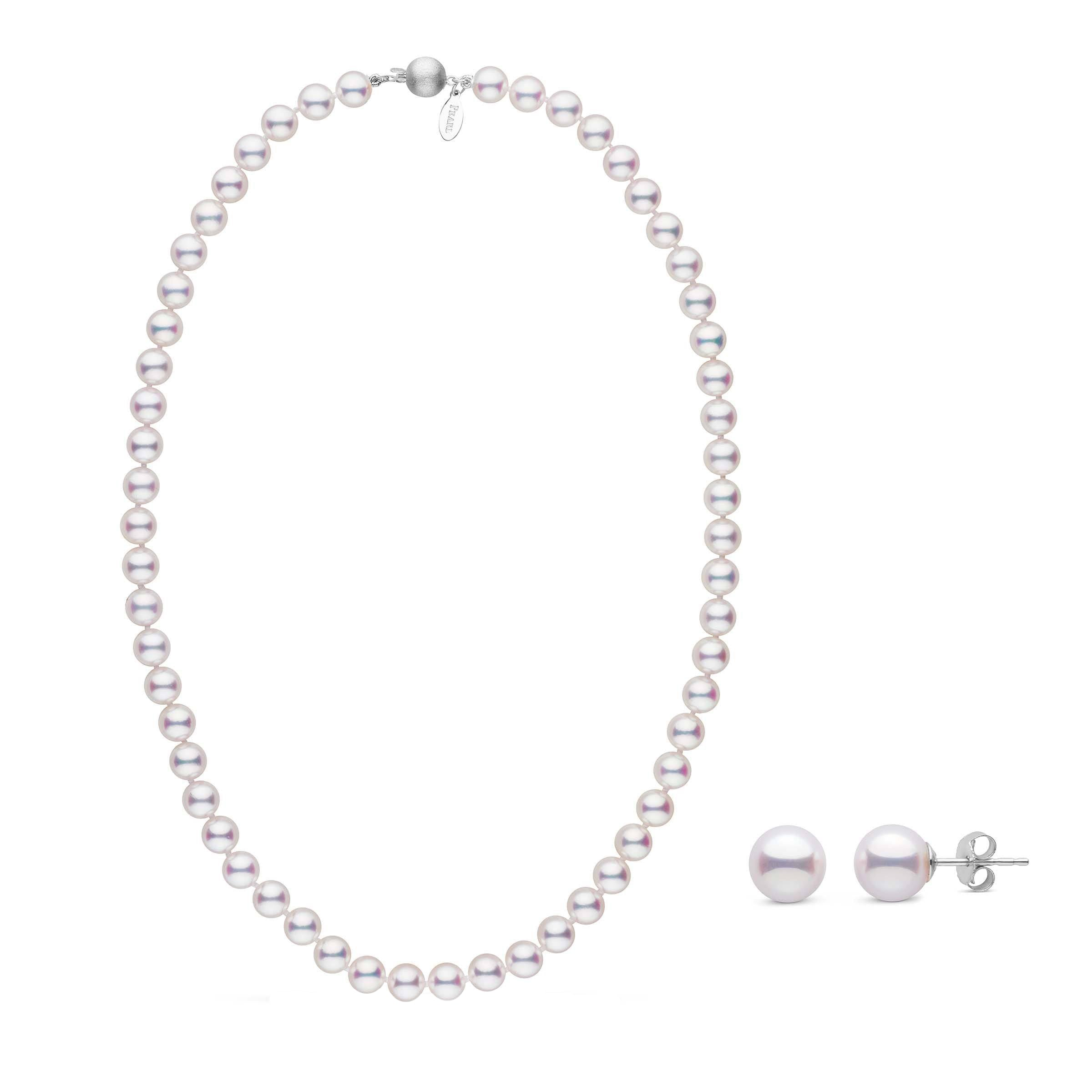 7.0-7.5 mm White Hanadama Akoya Pearl Set