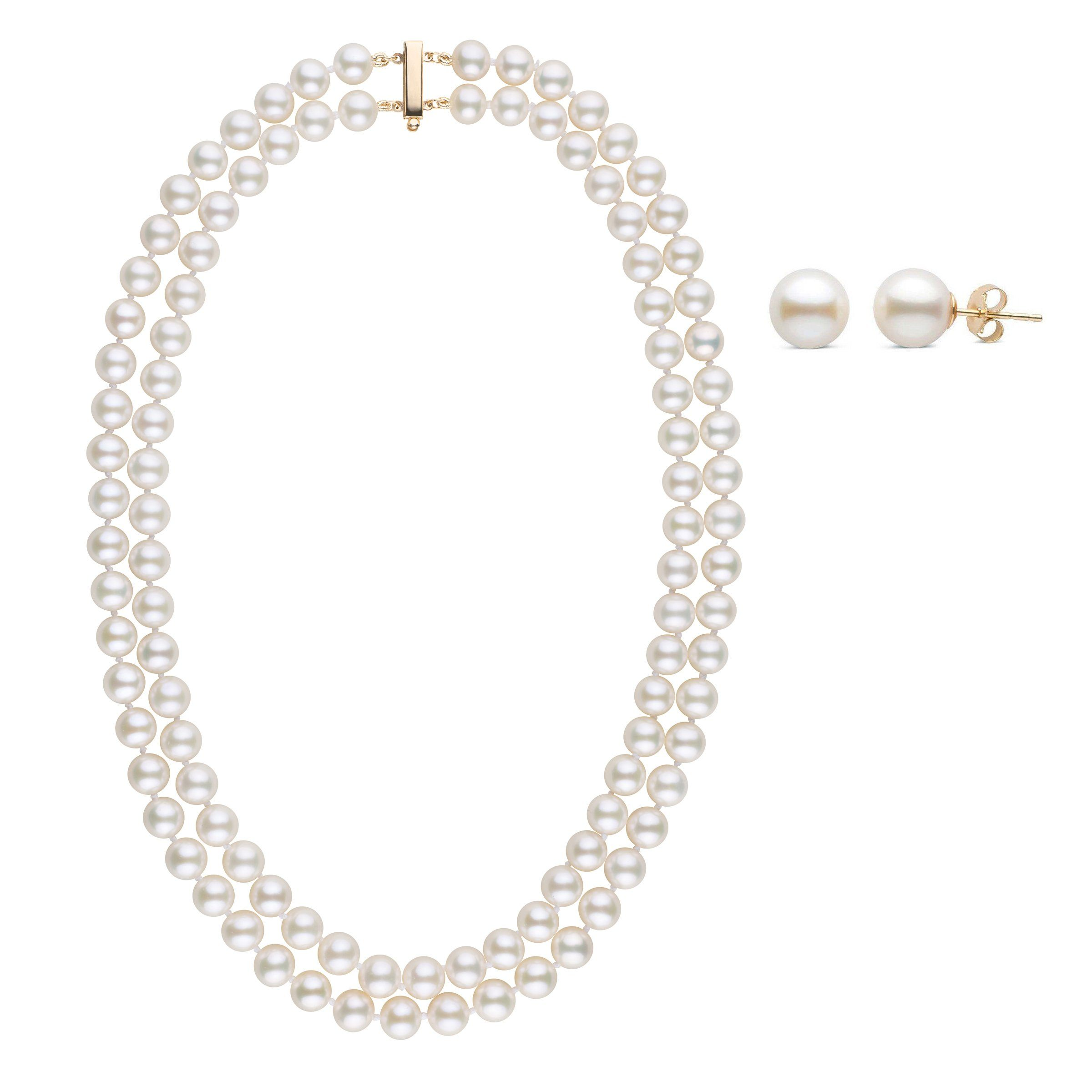 7.5-8.0 mm AAA White Freshwater Double Strand Necklace & Earring Set