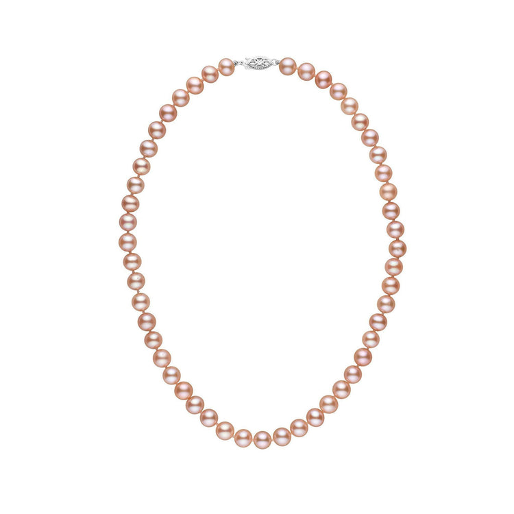 7.5-8.0 mm 16 Inch AA+ Pink to Peach Freshwater Pearl Necklace