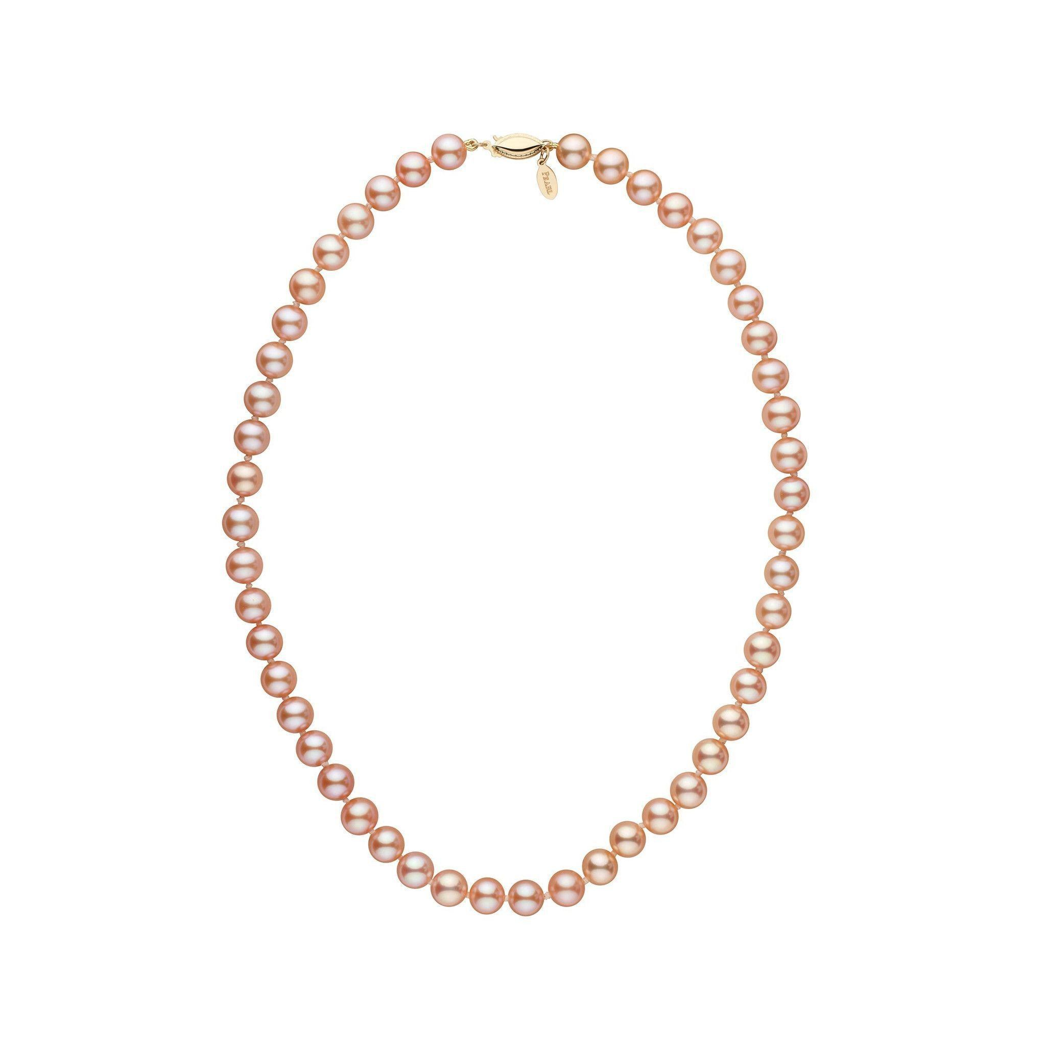 7.5-8.0 mm 16 Inch Pink to Peach Freshadama Freshwater Pearl Necklace