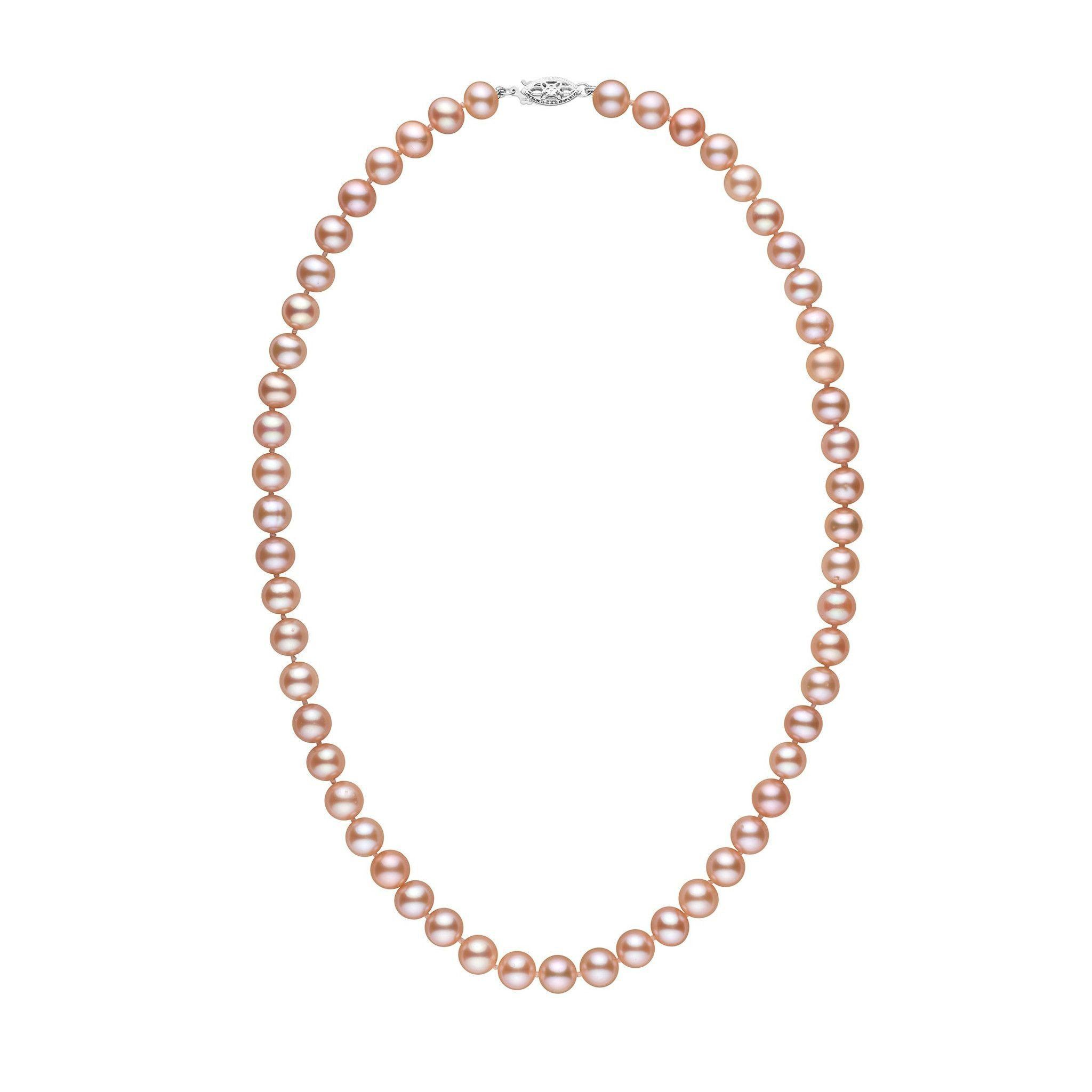7.5-8.0 mm 18 Inch AA+ Pink to Peach Freshwater Pearl Necklace