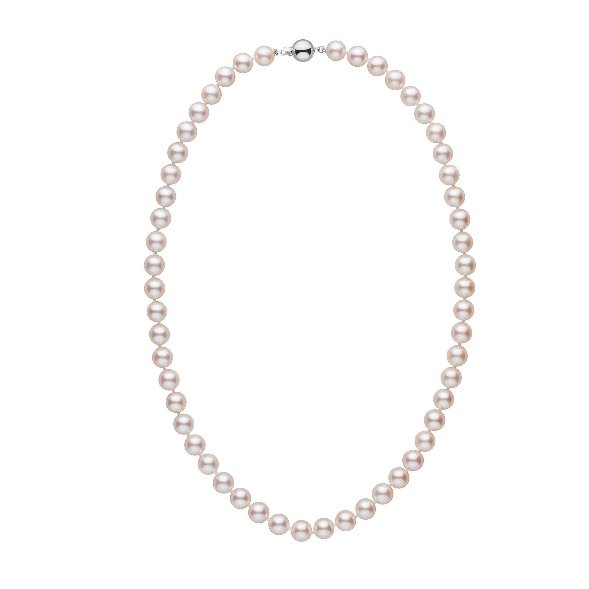 7.5-8.0 mm 18 inch AA+ White Akoya Pearl Necklace