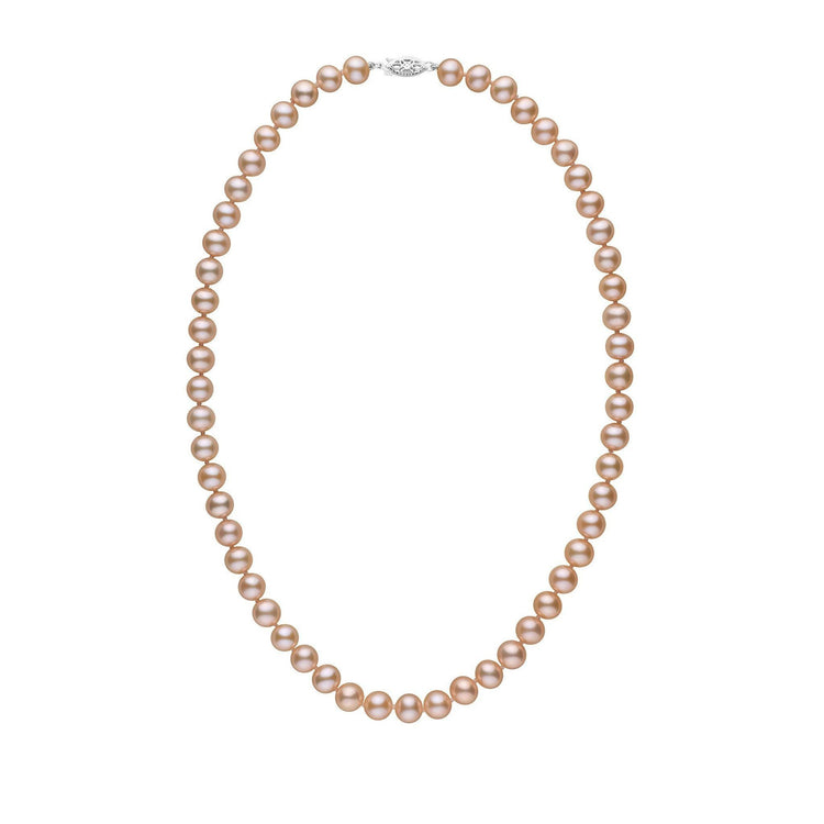 7.5-8.0 mm 18 Inch AAA Pink to Peach Freshwater Pearl Necklace