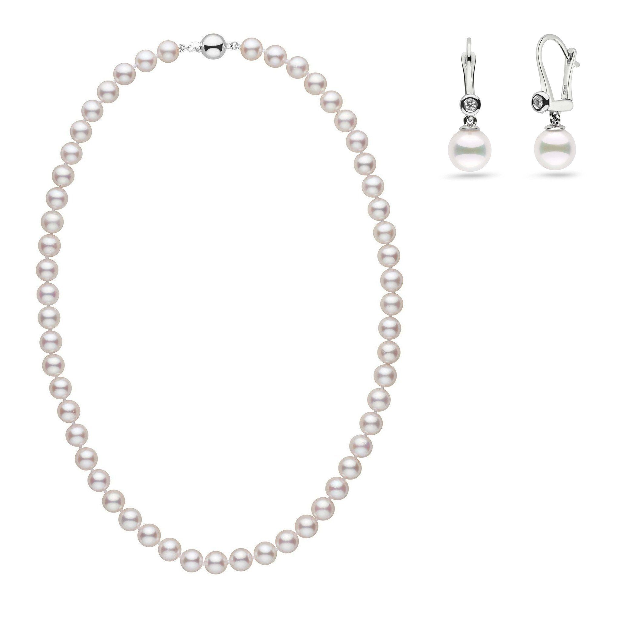 7.5-8.0 mm AAA White Akoya Pearl Necklace and Romantic Earring Set