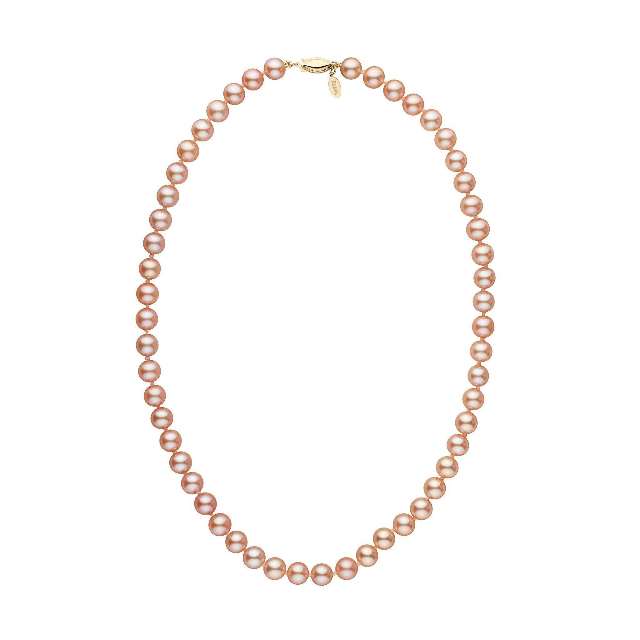 7.5-8.0 mm 18 Inch Pink to Peach Freshadama Freshwater Pearl Necklace