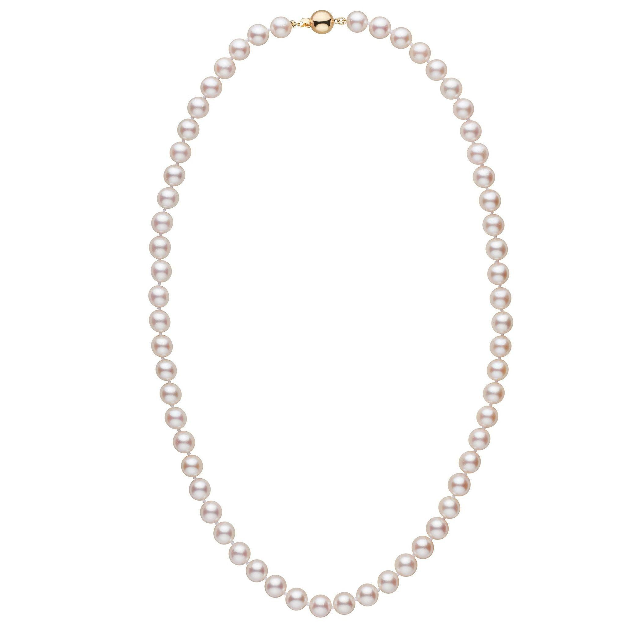 7.5-8.0 mm 22 inch AA+ White Akoya Pearl Necklace