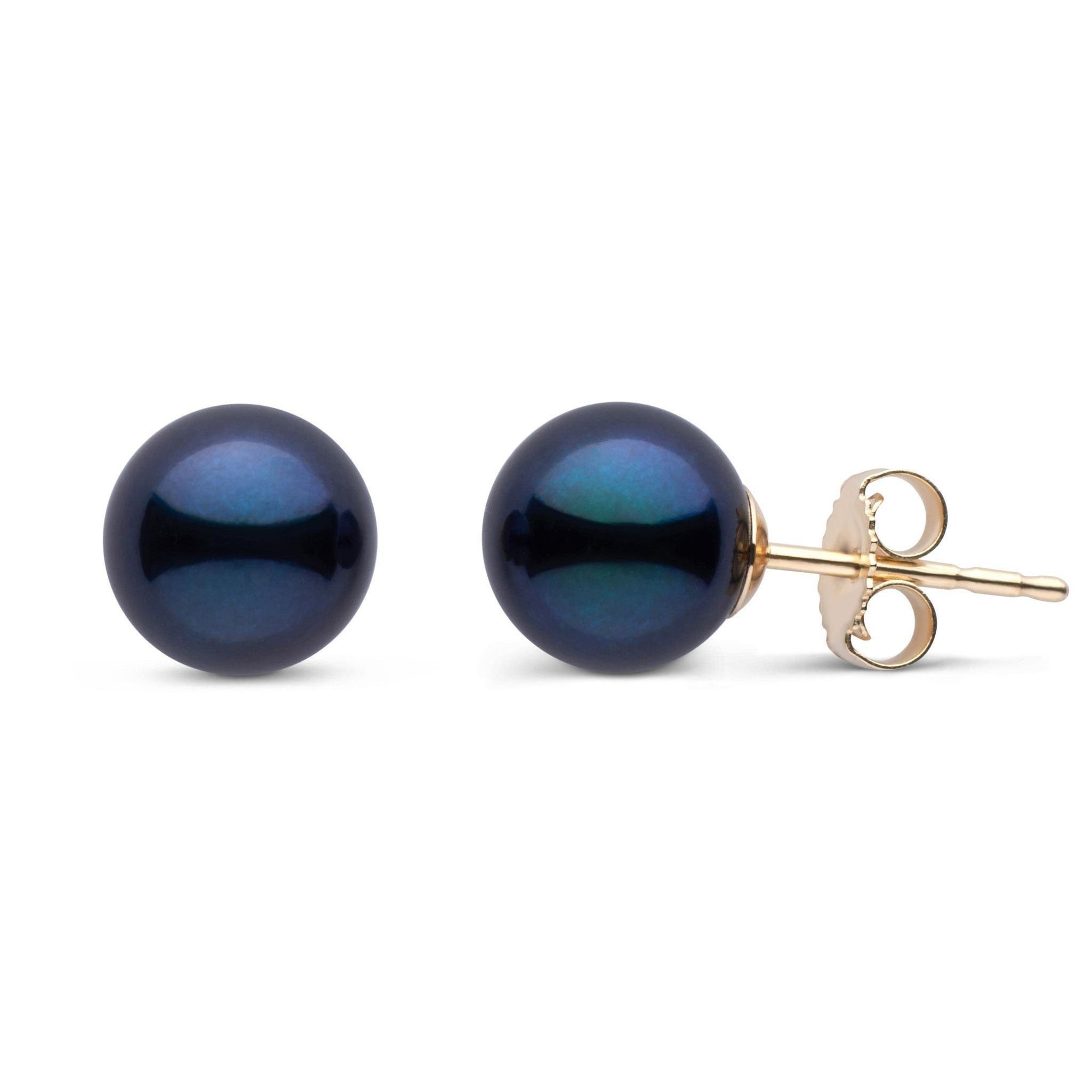 7.5-8.0 mm AA+ Black Akoya Pearl Stud Earrings