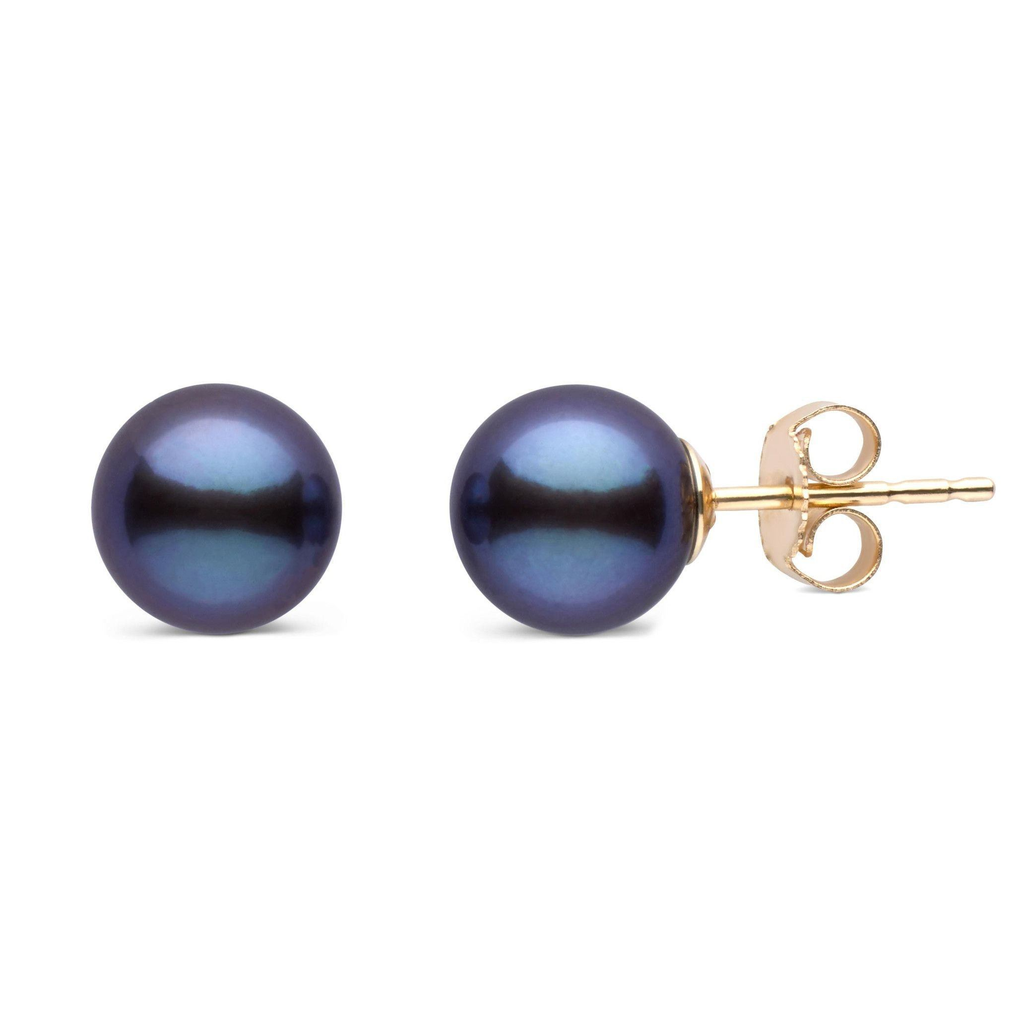 7.5-8.0 mm AAA Black Freshwater Pearl Stud Earrings