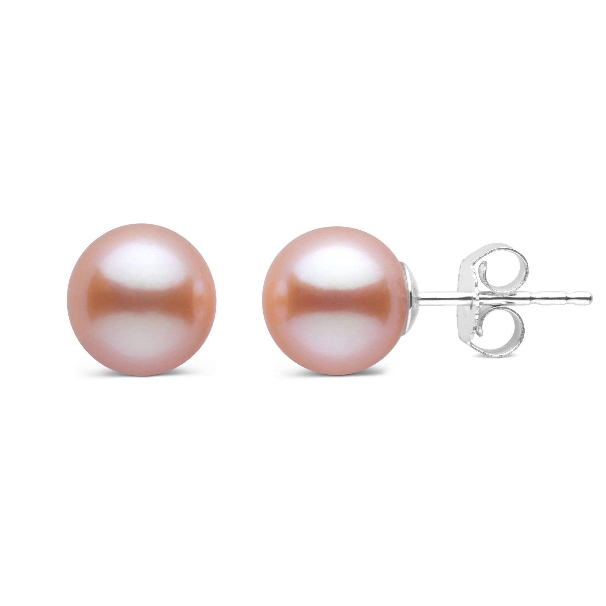 7.5-8.0 mm AAA Pink to Peach Freshwater Pearl Stud Earrings