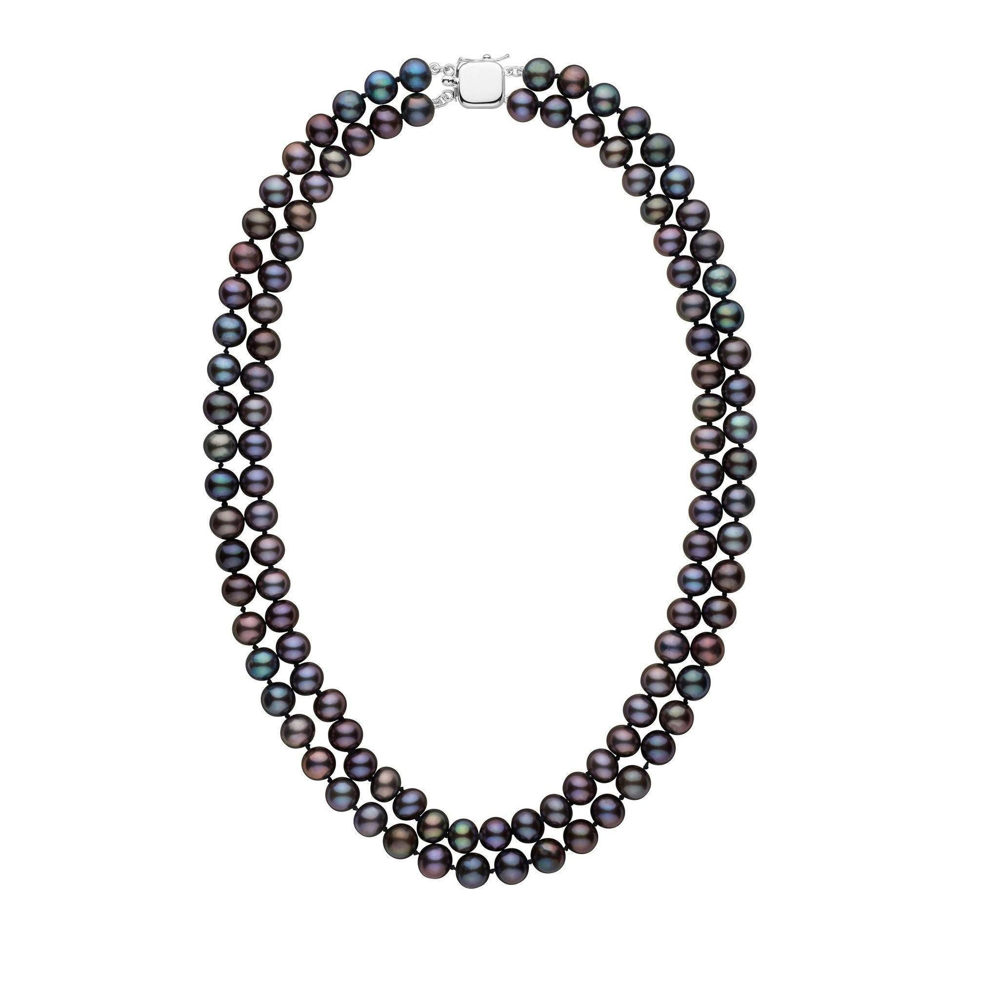 7.5-8.0 mm Double Strand AA+ Black Freshwater Pearl Necklace
