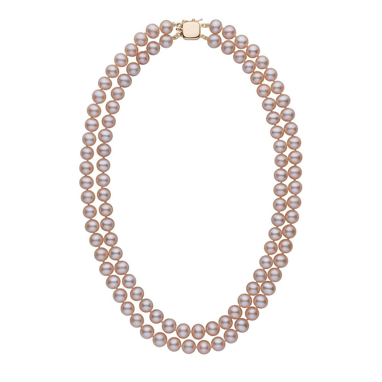 7.5-8.0 mm Double Strand AA+ Lavender Freshwater Pearl Necklace