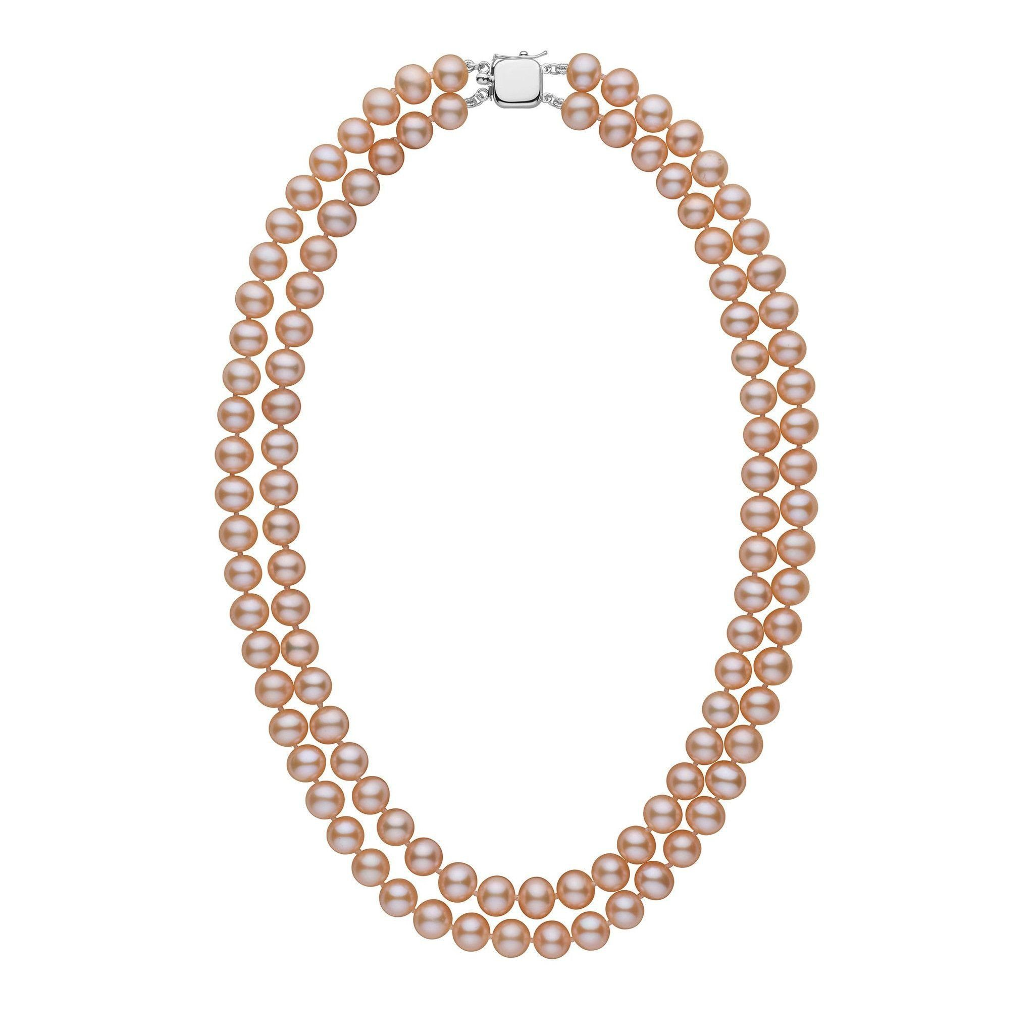 7.5-8.0 mm Double Strand AA+ Pink to Peach Freshwater Pearl Necklace