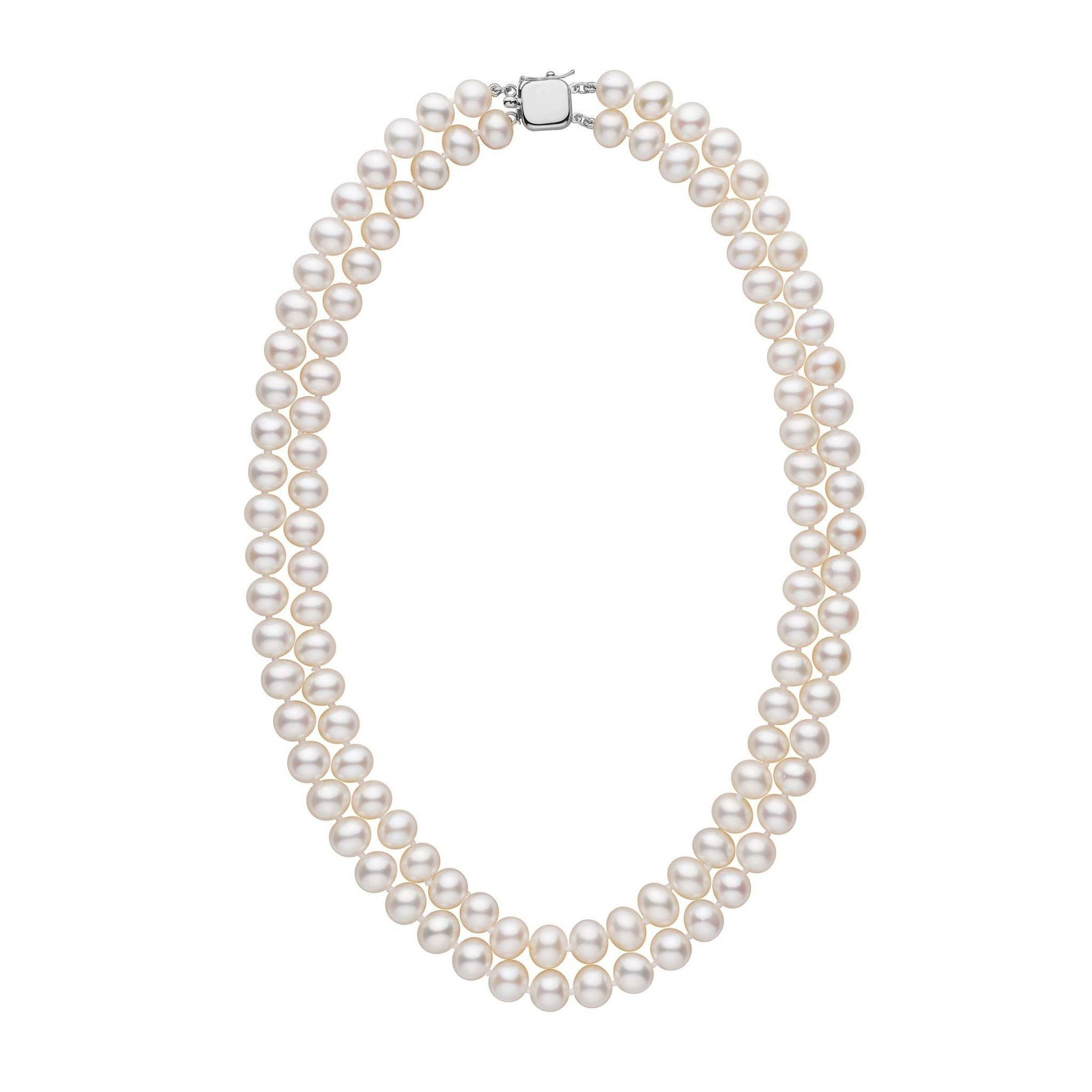 7.5-8.0 mm Double Strand AA+ White Freshwater Pearl Necklace